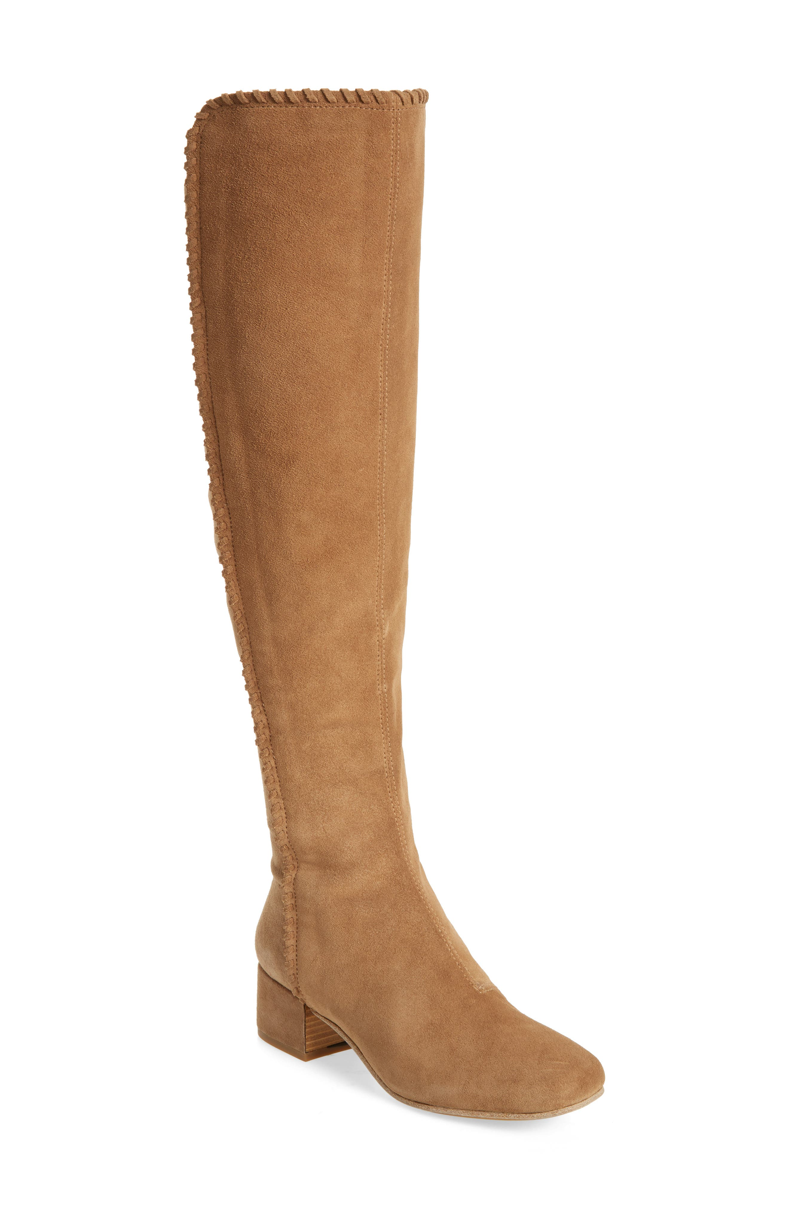 Emery Over the Knee Boot,                             Main thumbnail 1, color,                             Camel Suede