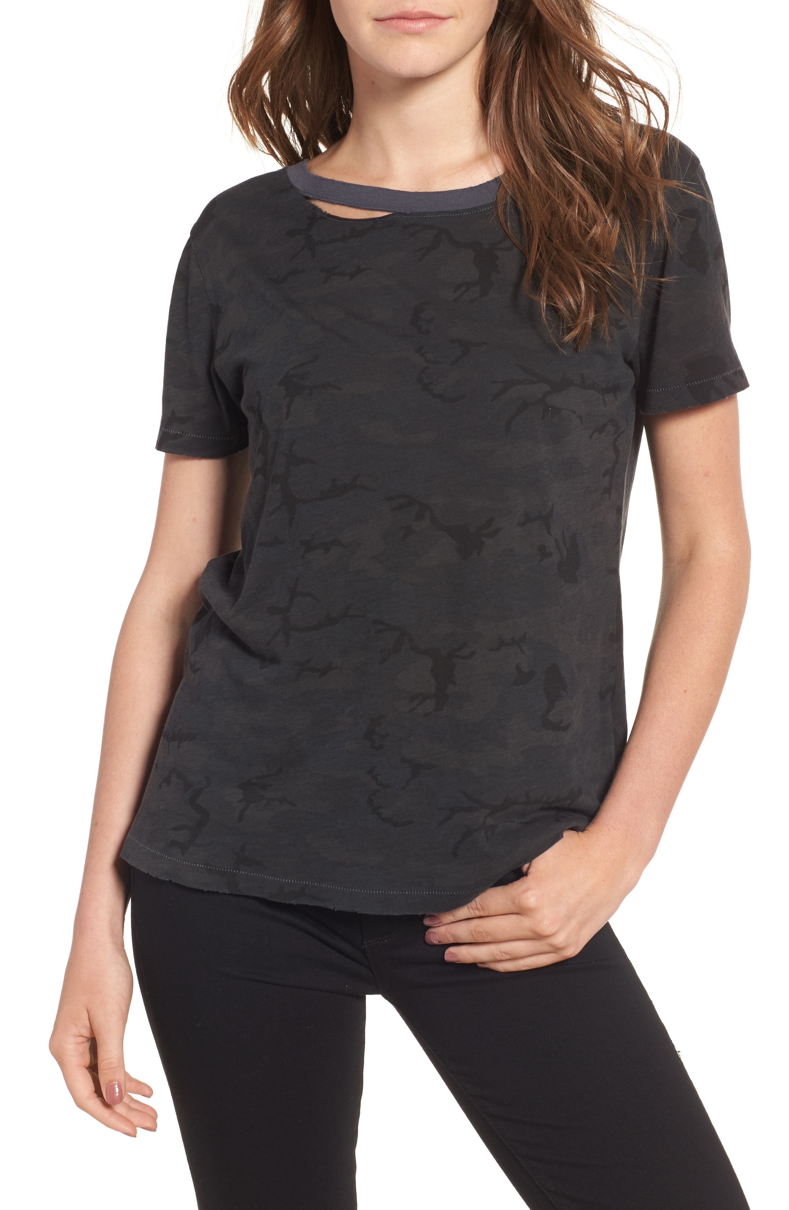 Harlow Deconstructed Tee,                         Main,                         color, Ghost Multi Camo