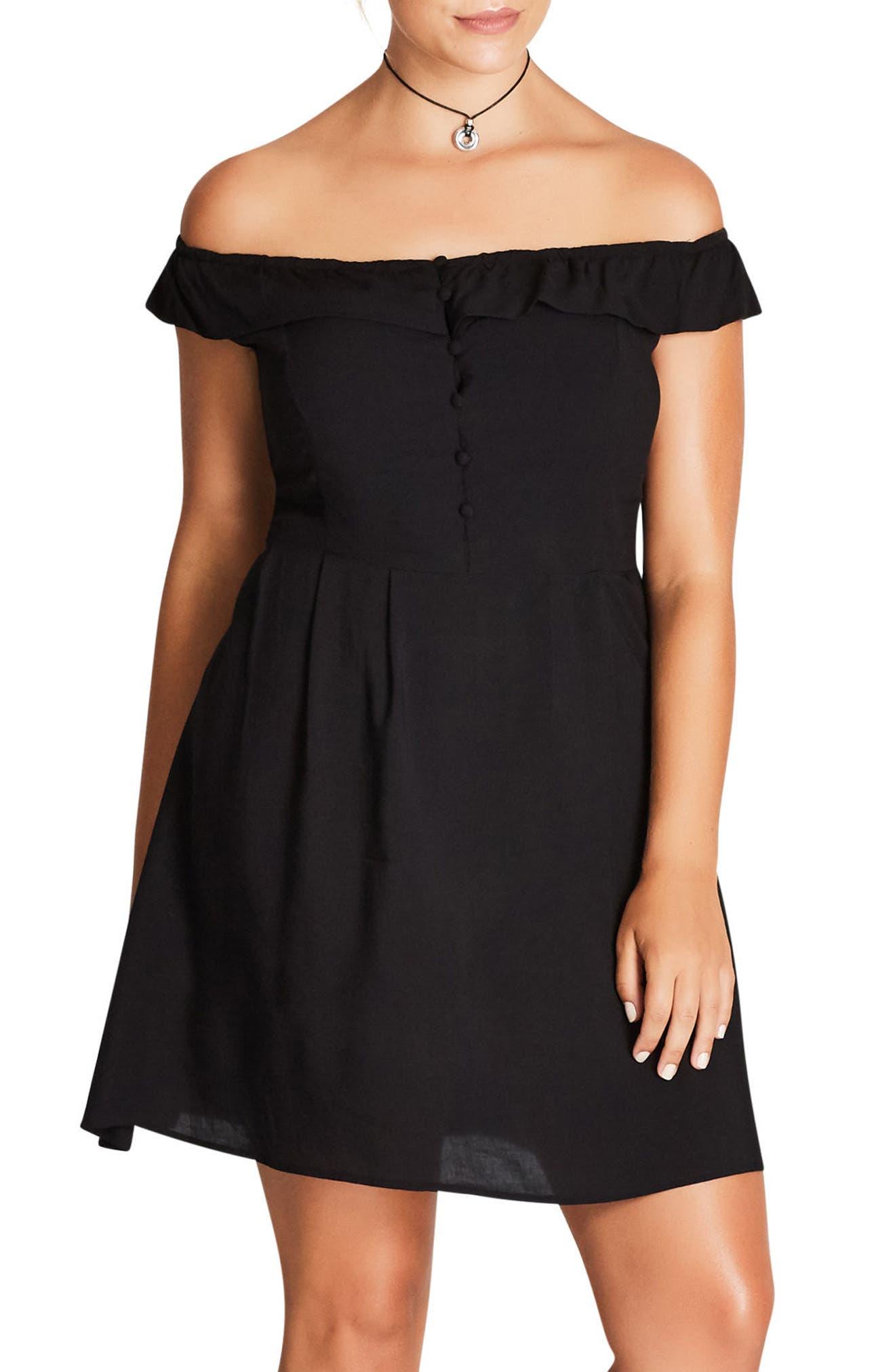 Pretty Button Fit & Flare Dress,                             Main thumbnail 1, color,                             Black