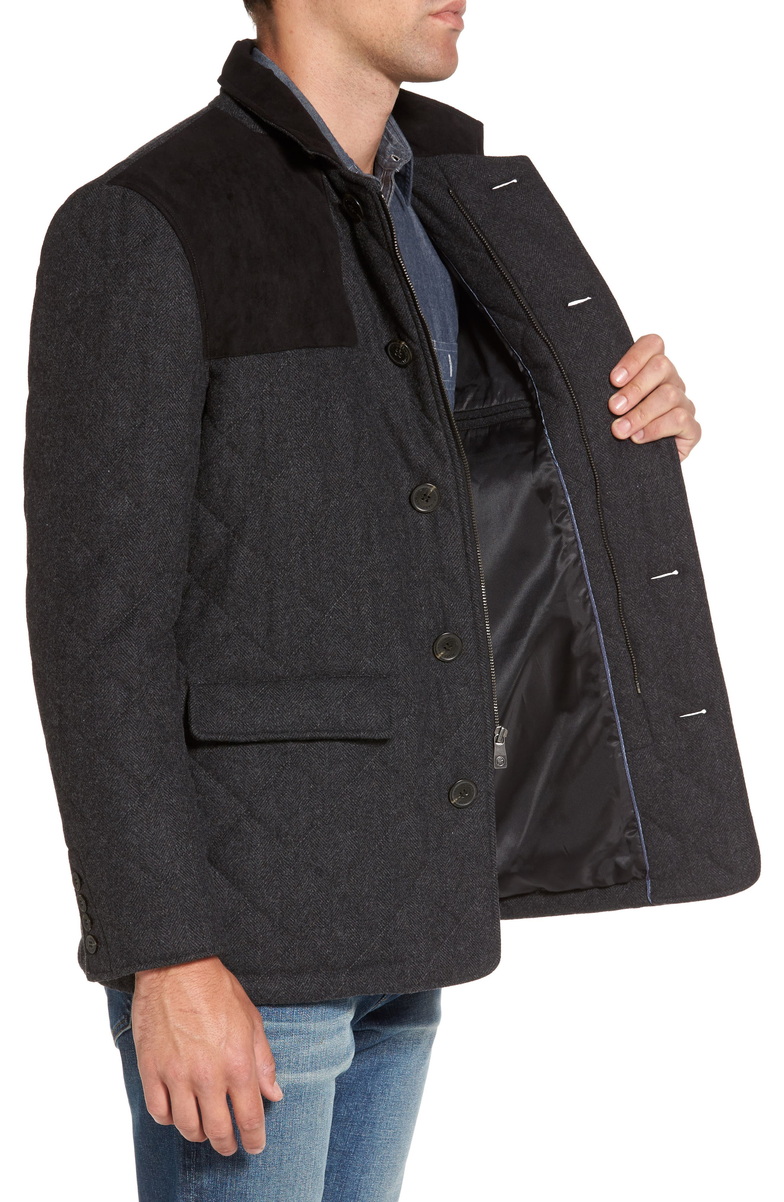 'Shooter' Wool Blend Quilted Jacket,                             Alternate thumbnail 3, color,                             Charcoal