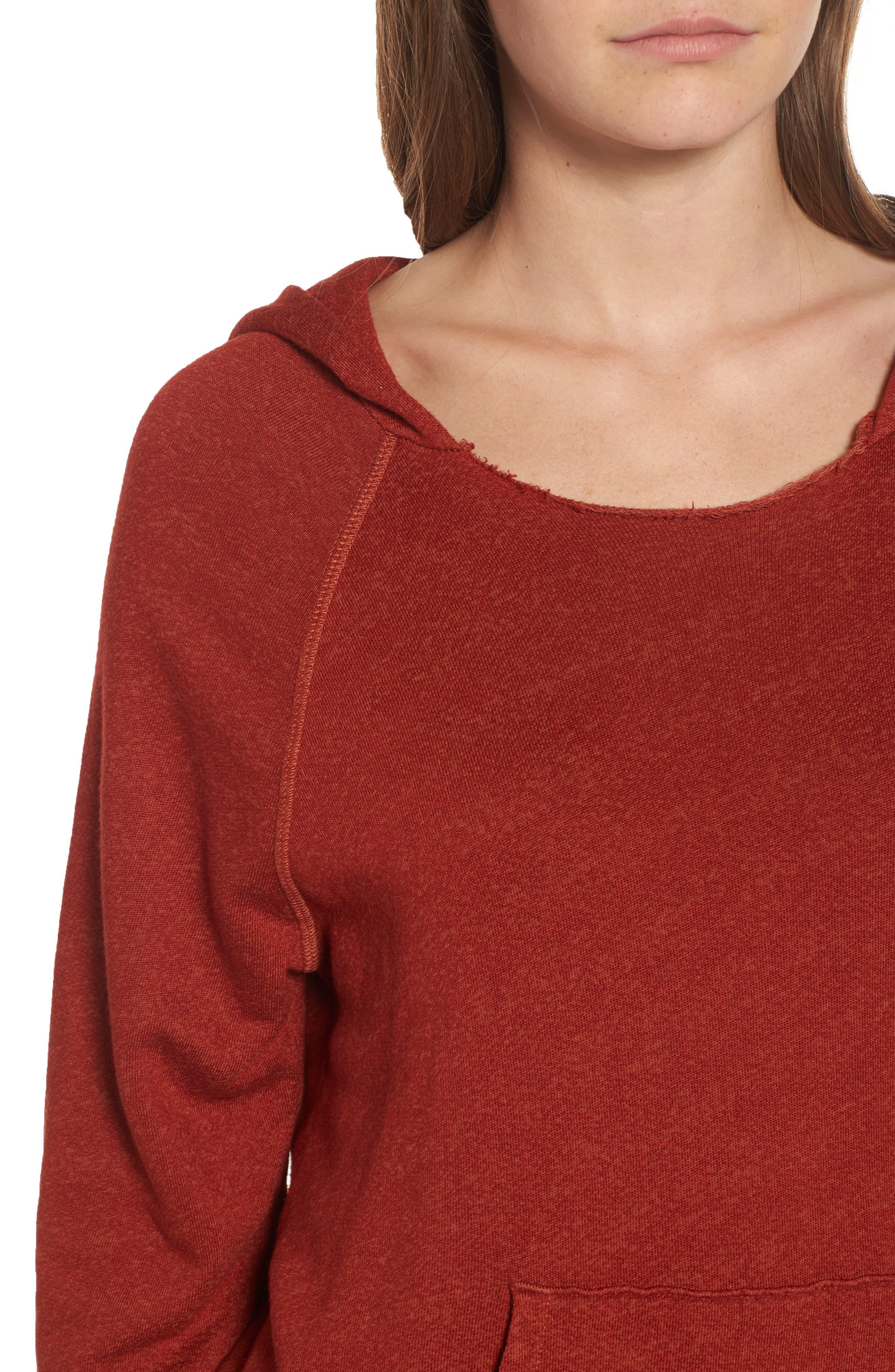 Penny Hooded Sweatshirt,                             Alternate thumbnail 4, color,                             Rust