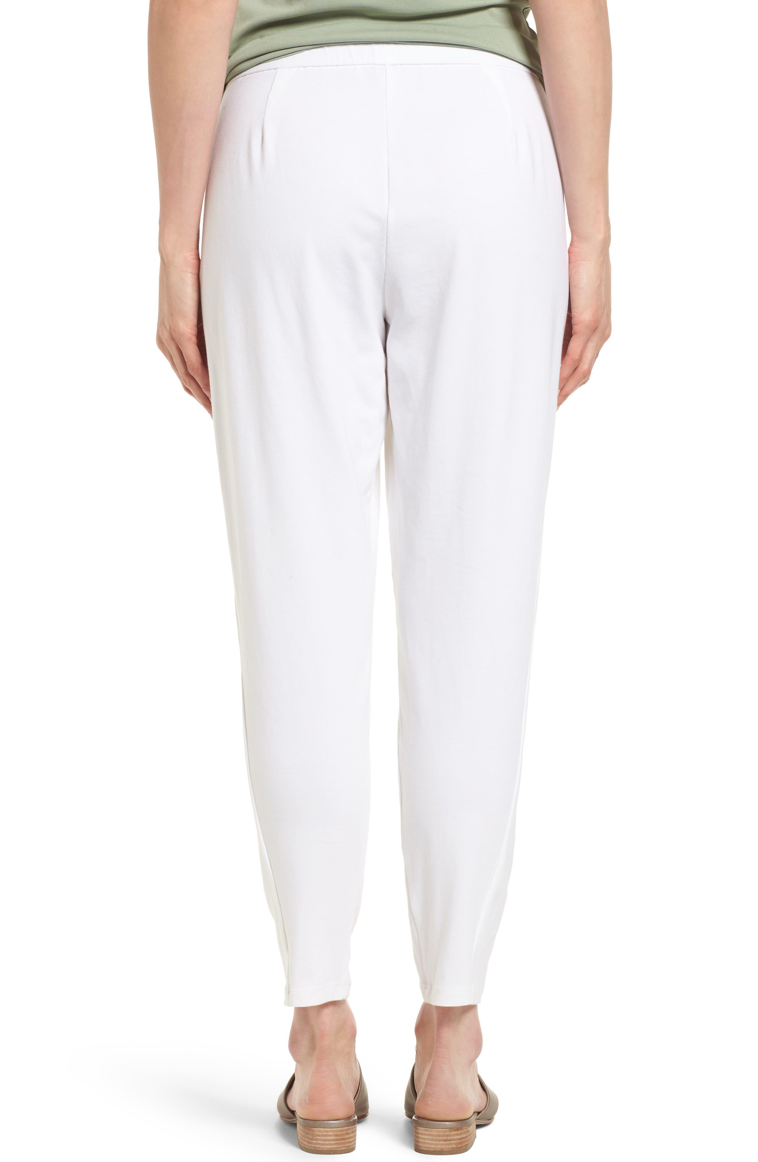 Stretch Organic Cotton Slim Slouchy Ankle Pants,                             Alternate thumbnail 2, color,                             White