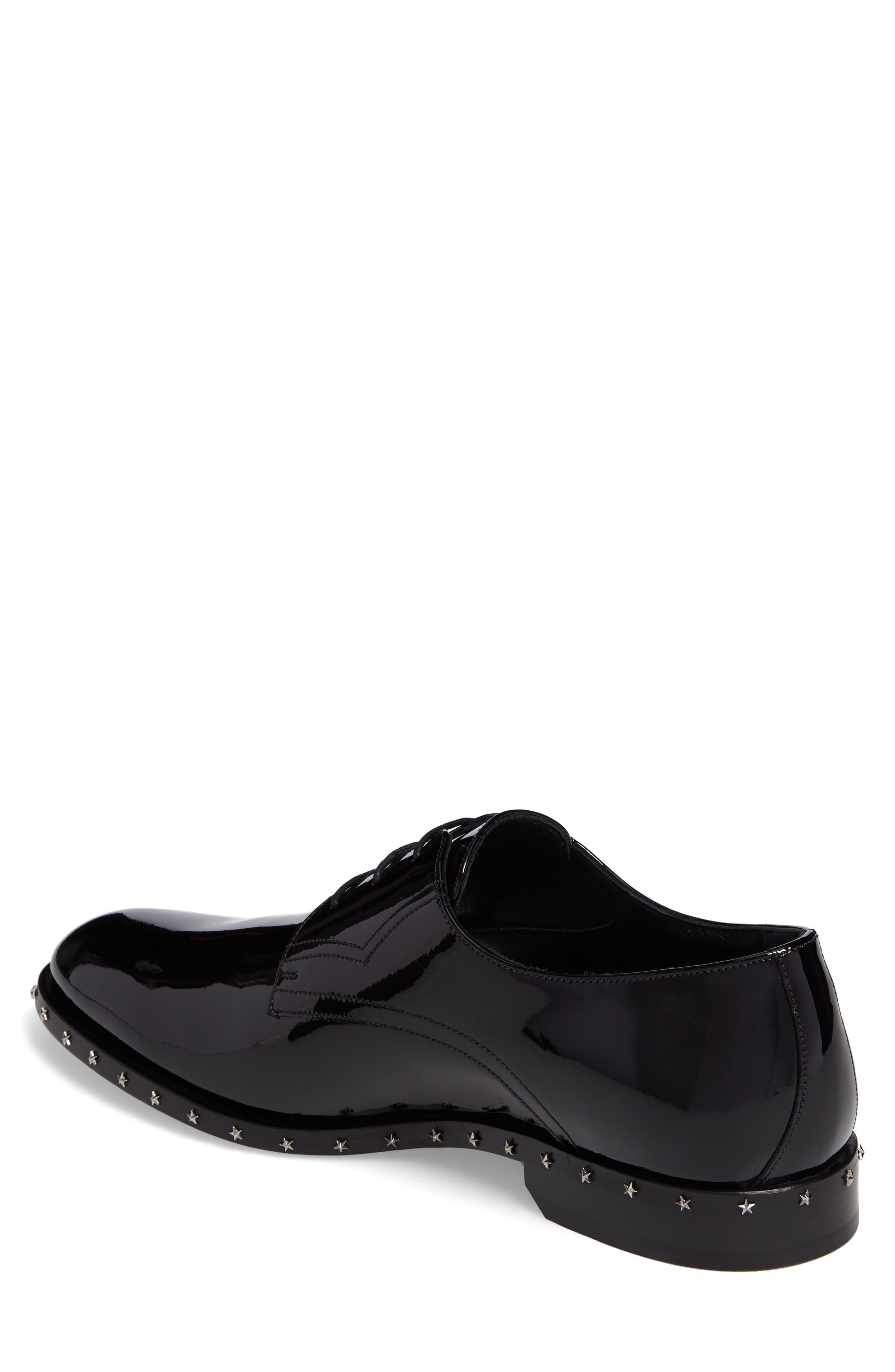 Studded Plain Toe Derby,                             Alternate thumbnail 2, color,                             Black Patent Leather