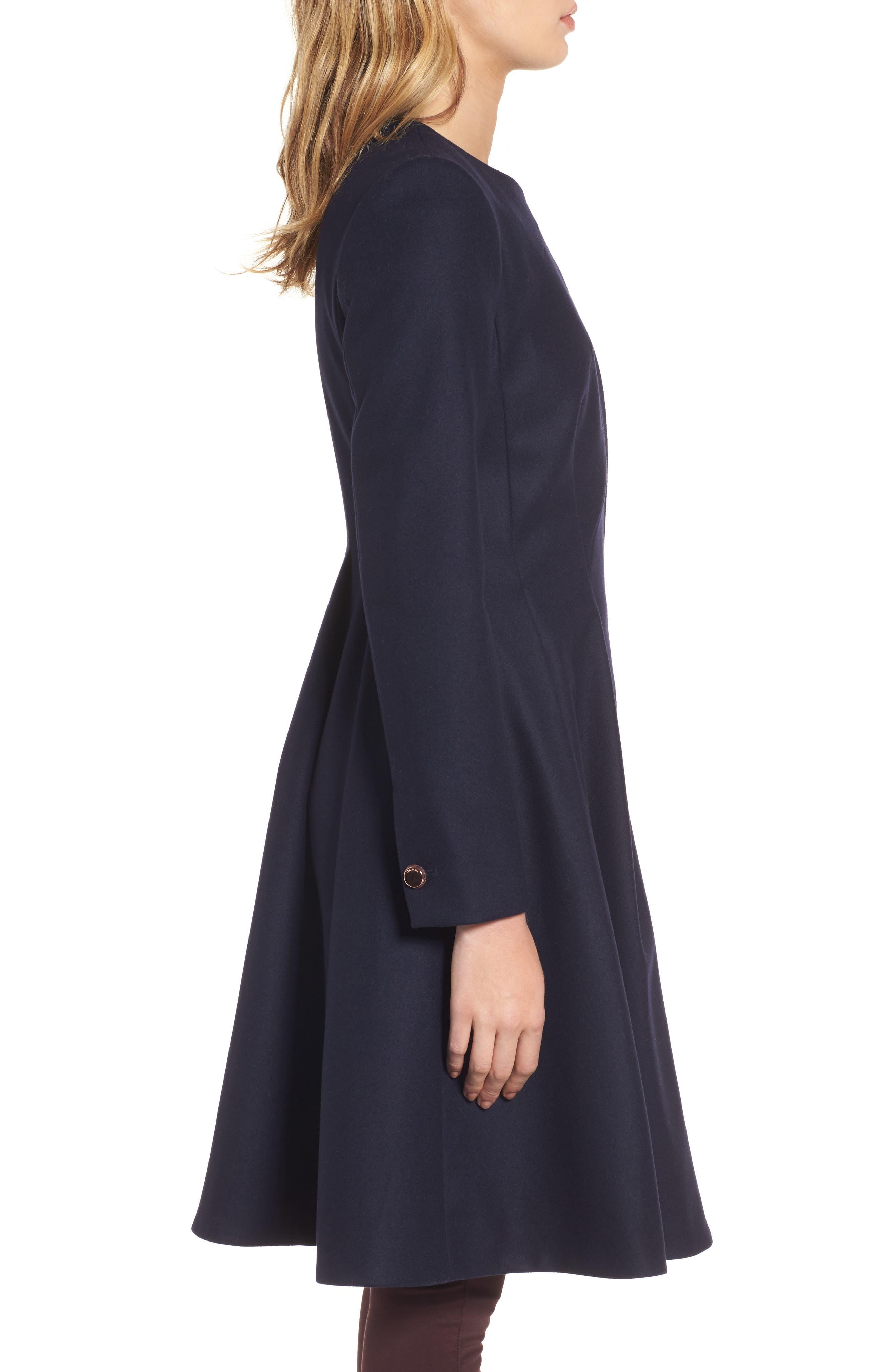 Wool Blend Asymmetrical Skirted Coat,                             Alternate thumbnail 3, color,                             Navy