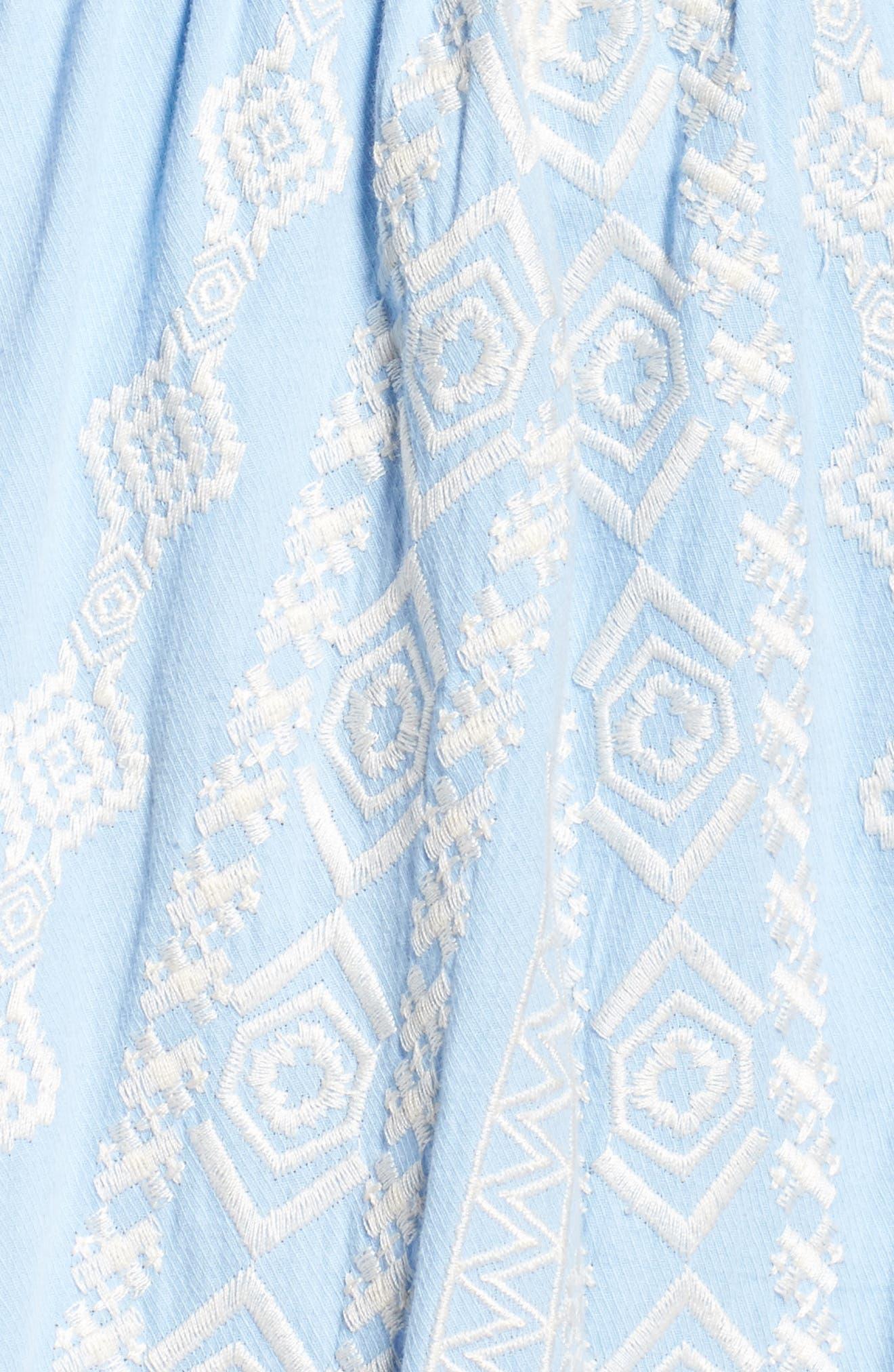 Strapless Midi Dress,                             Alternate thumbnail 5, color,                             Light Blue