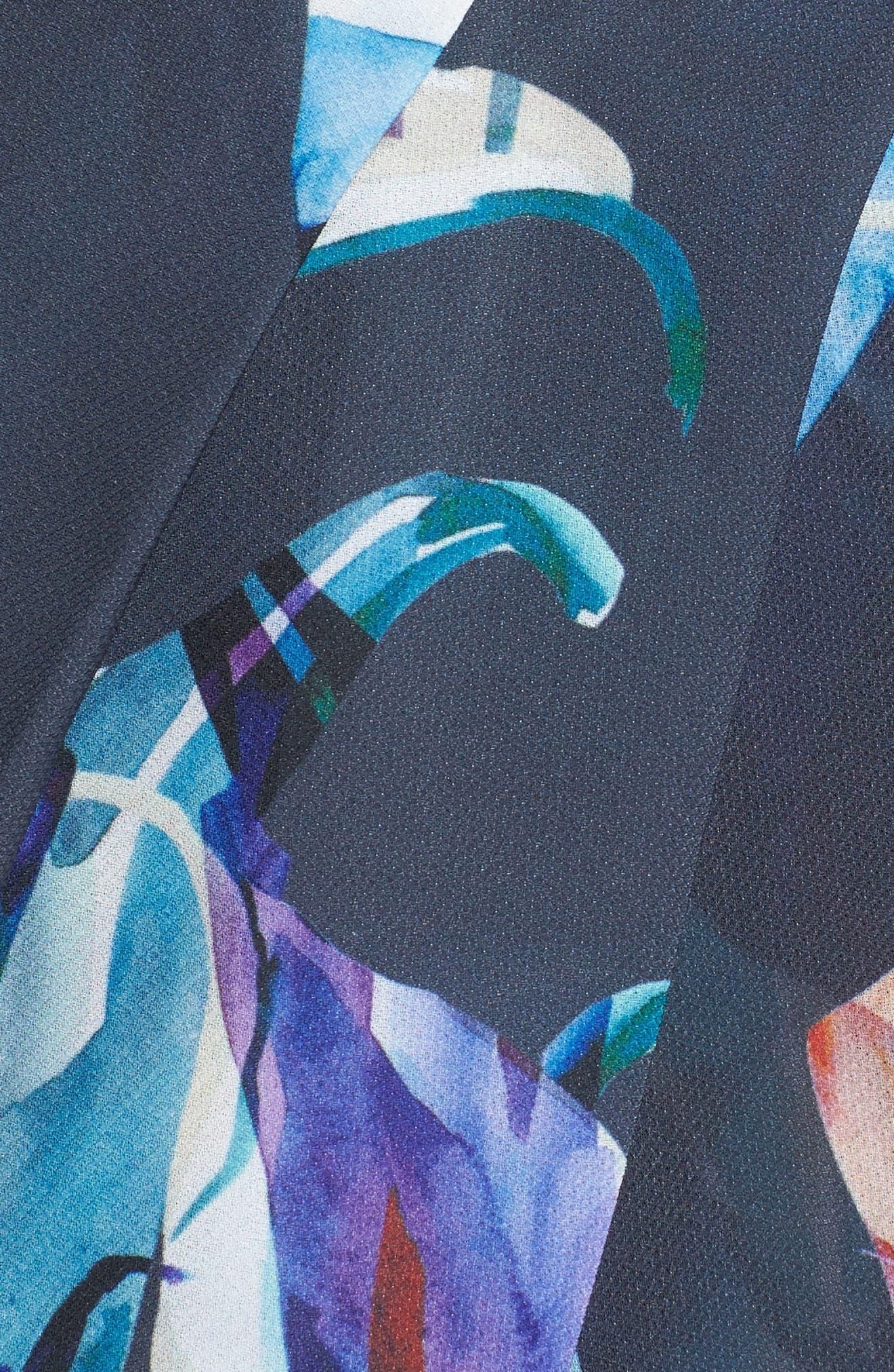 Romanticise Midi Dress,                             Alternate thumbnail 5, color,                             Black/ Aqua