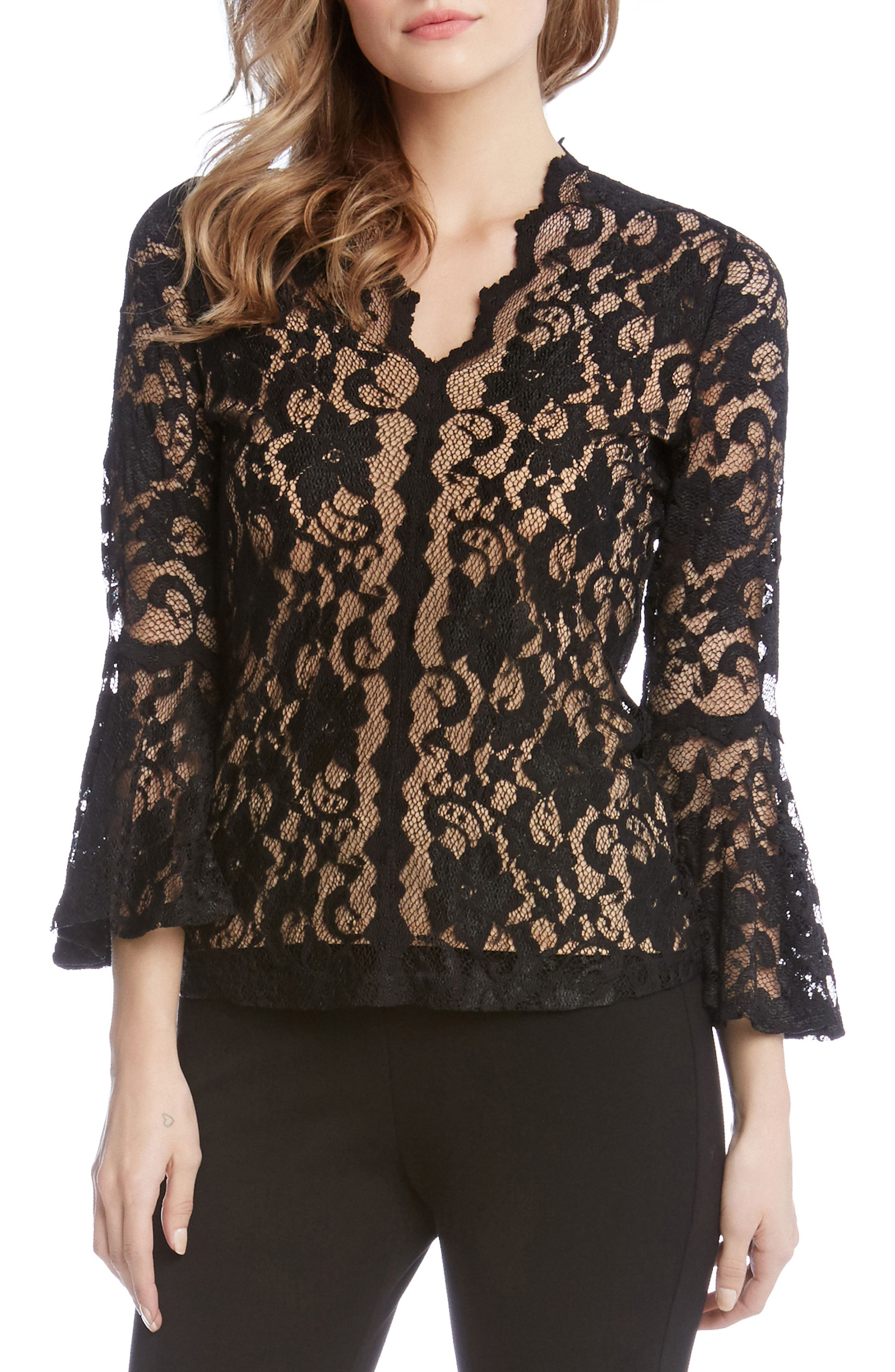 Bell Sleeve Scalloped Lace Top,                         Main,                         color, Black/ Nude