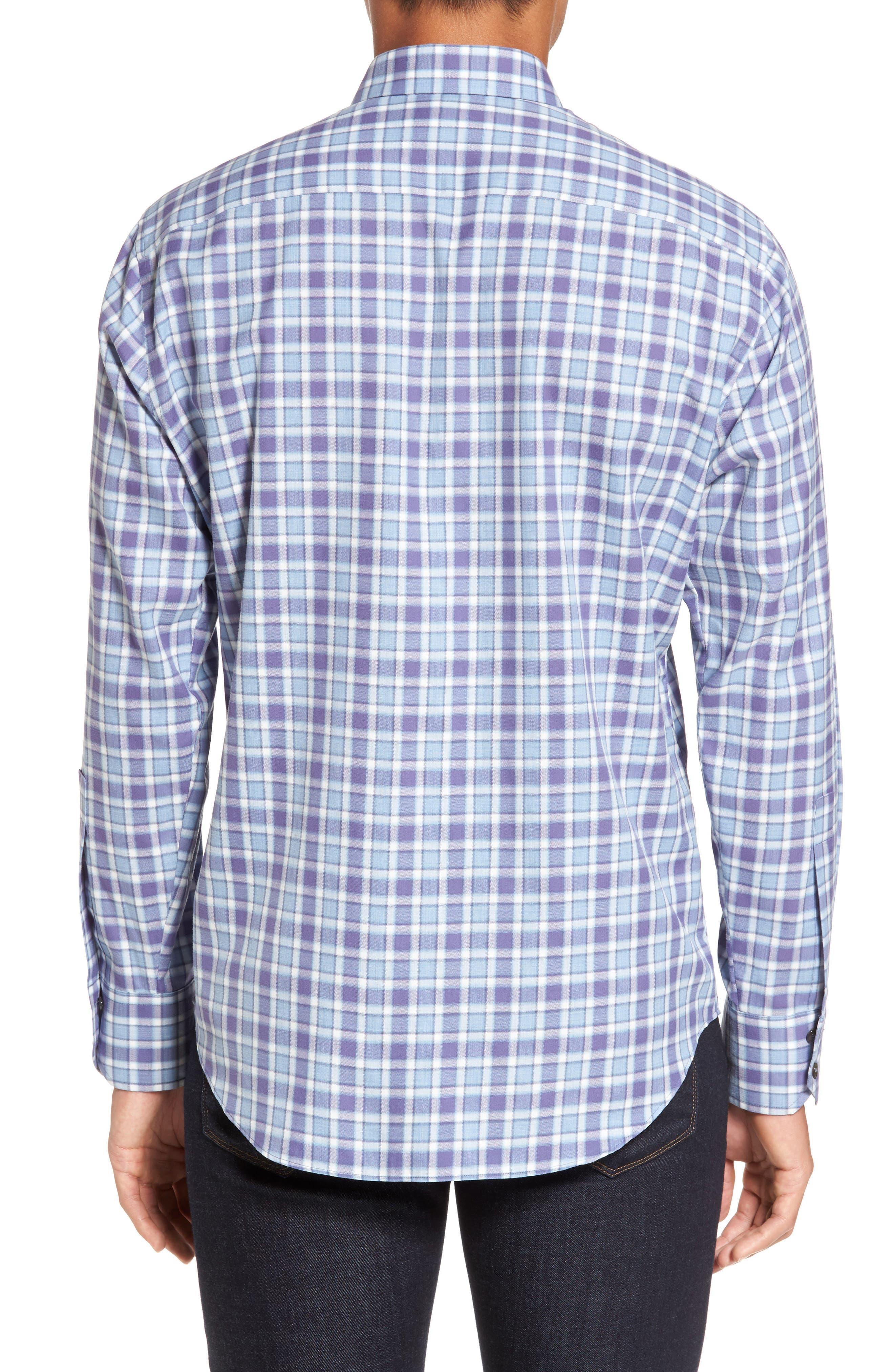 Lobban Slim Fit Check Sport Shirt,                             Alternate thumbnail 3, color,                             Purple