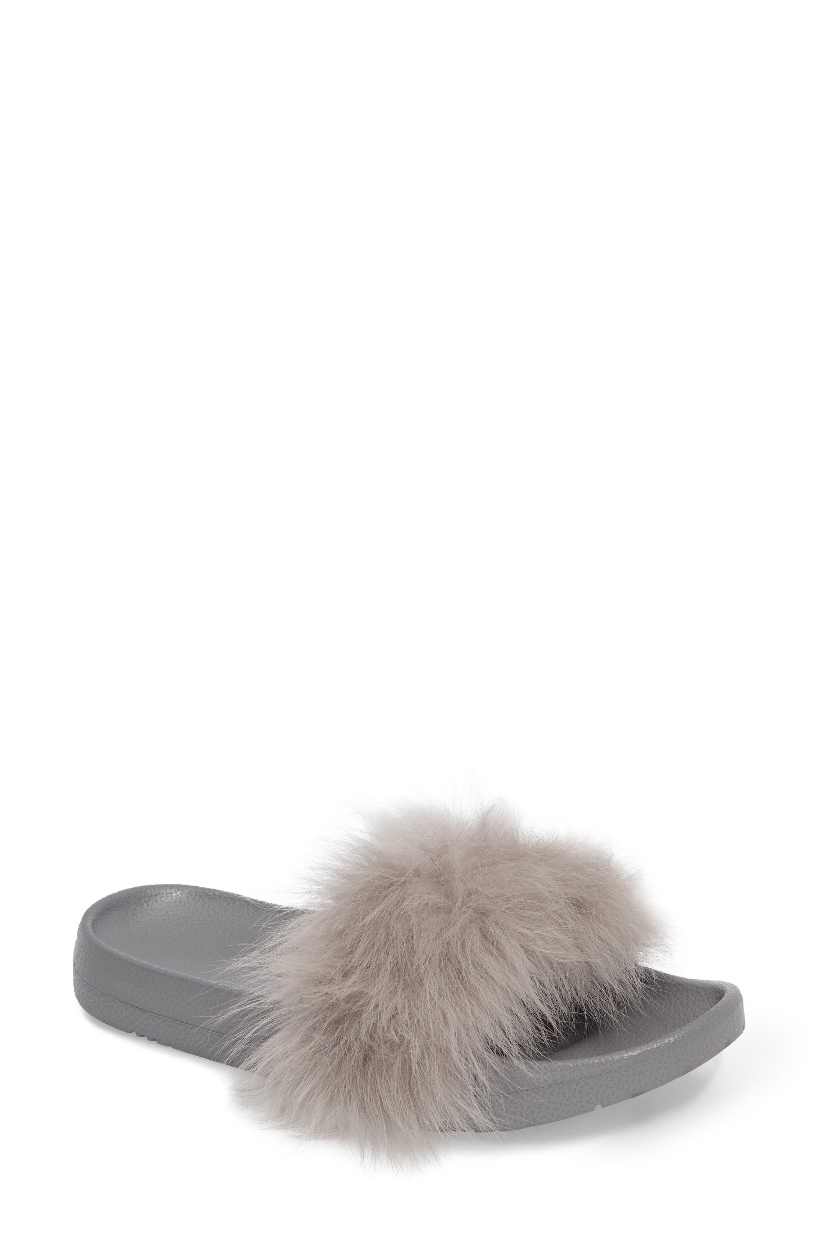 Royale Genuine Shearling Slide Sandal,                             Main thumbnail 1, color,                             Seal