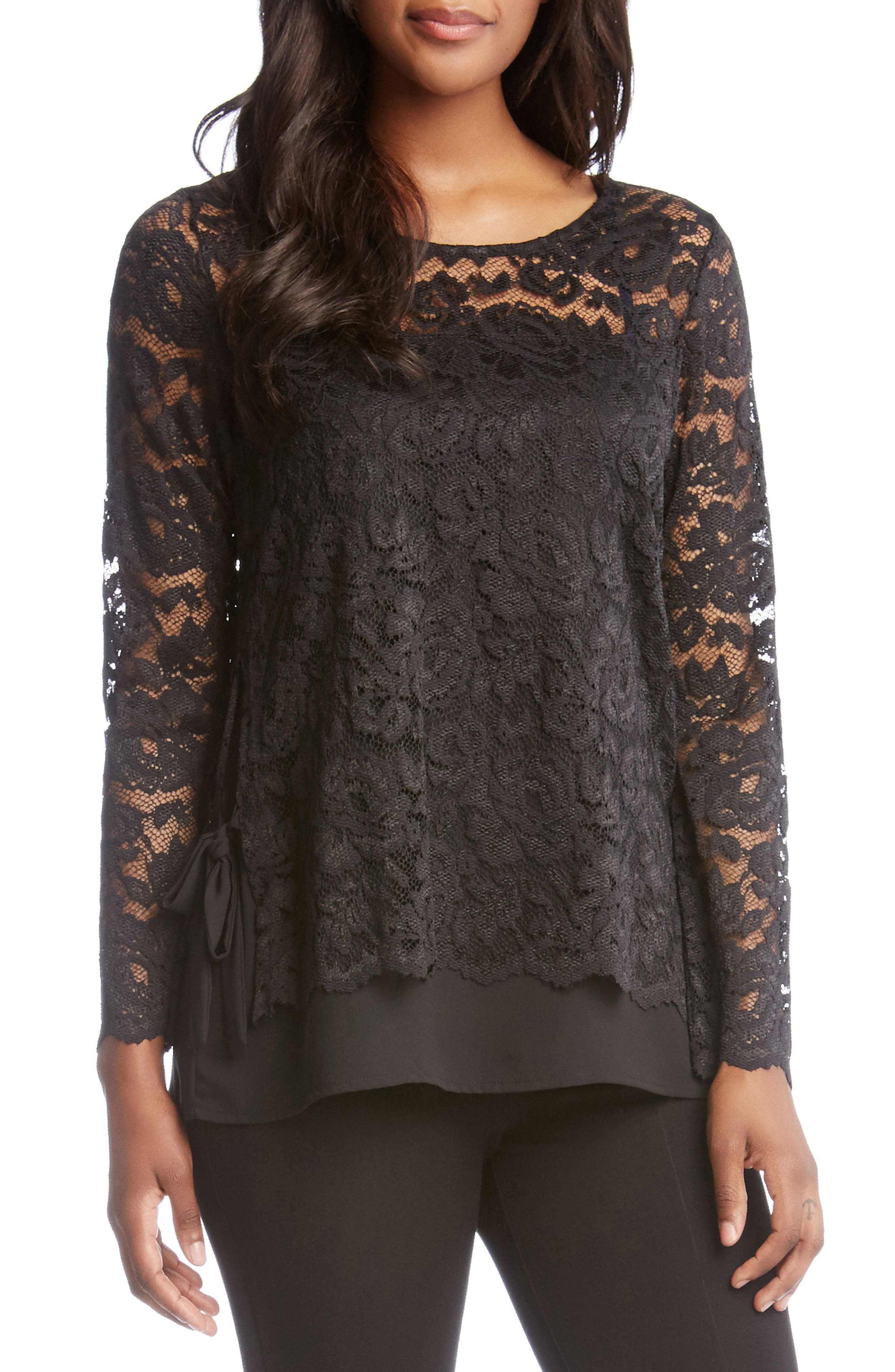 Lace Overlay Jersey Top,                         Main,                         color, Black