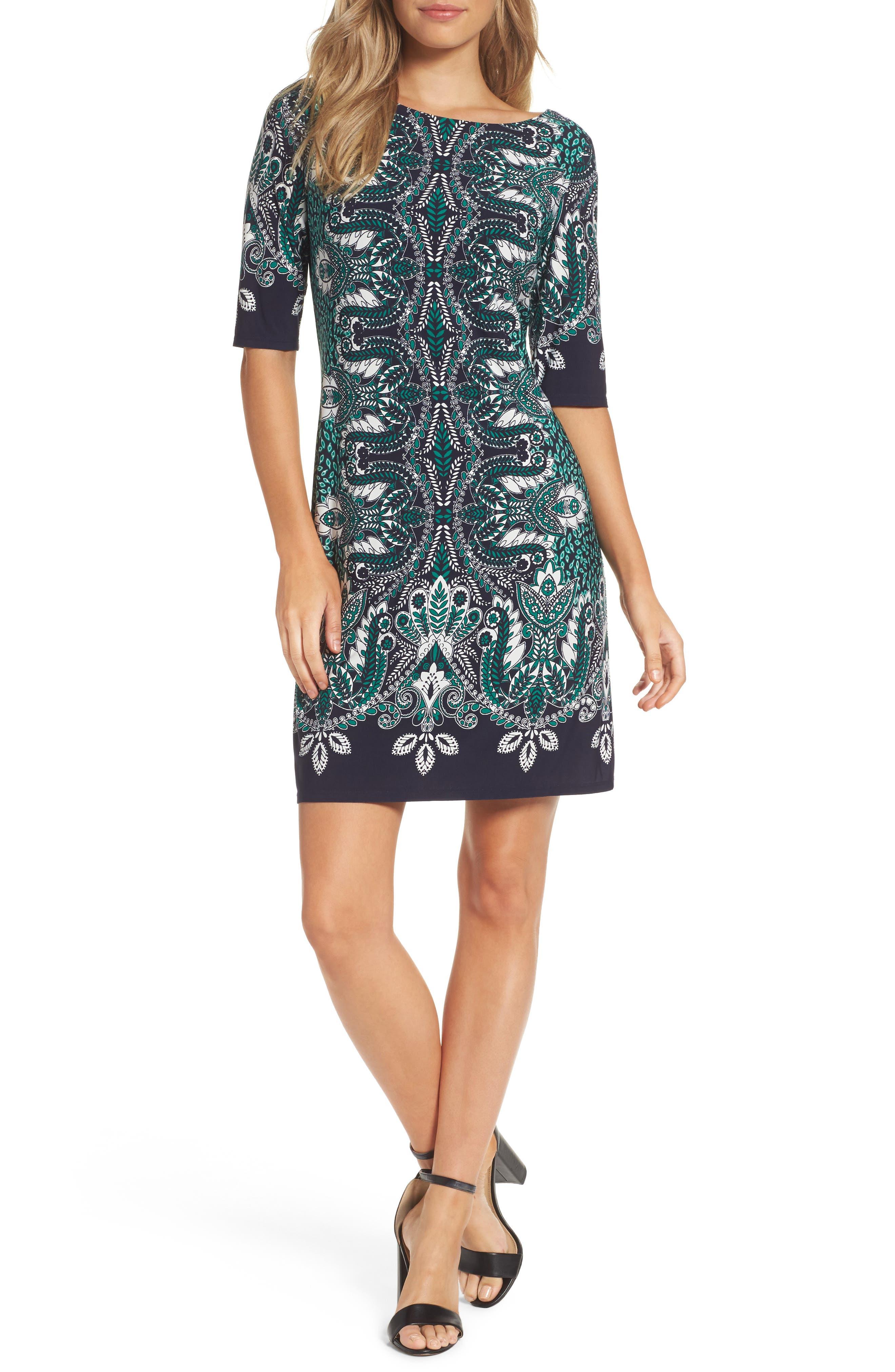Print Elbow Sleeve Shift Dress,                         Main,                         color, Navy/ Green