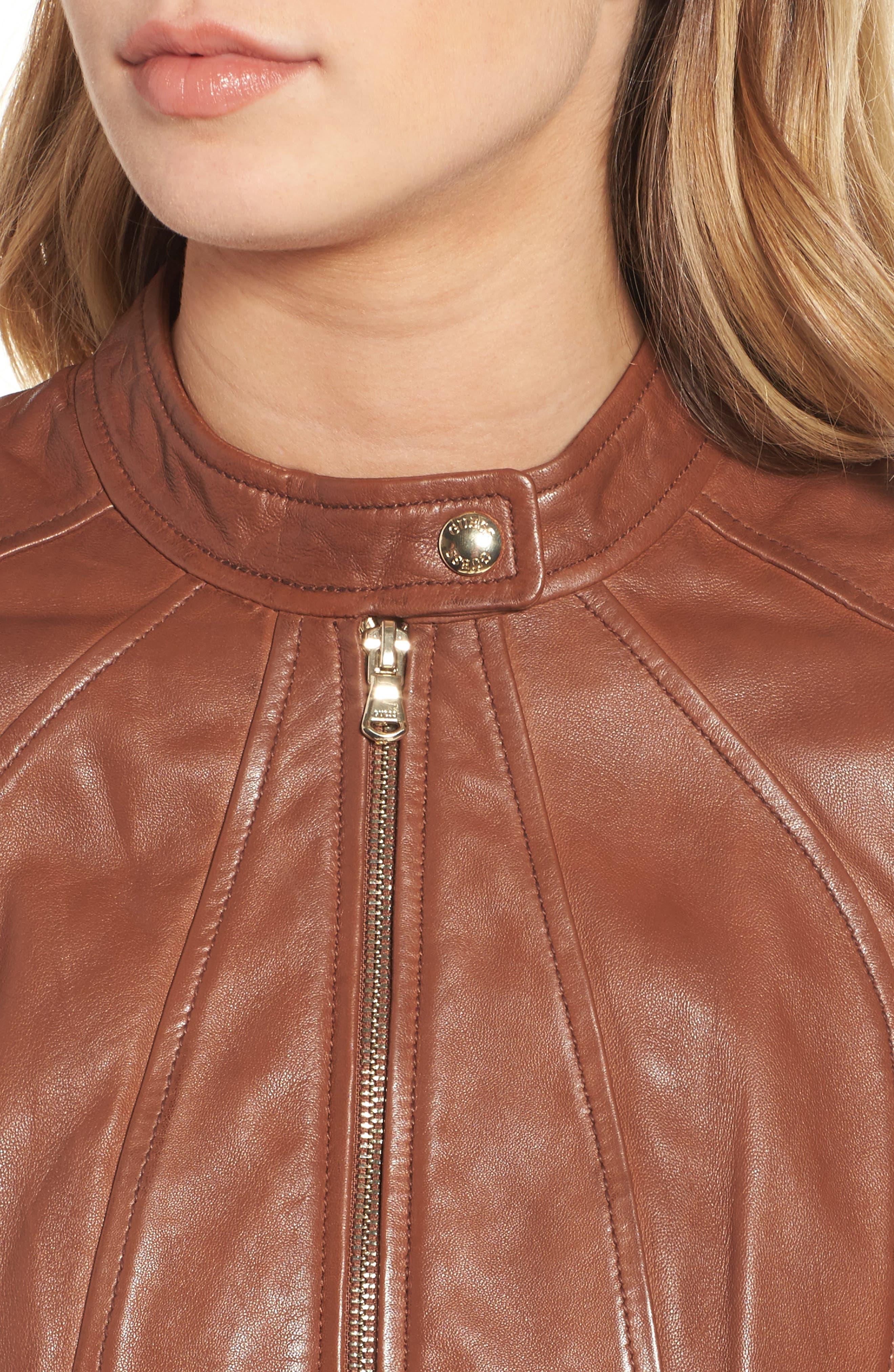 Alternate Image 4  - Guess Collarless Leather Moto Jacket