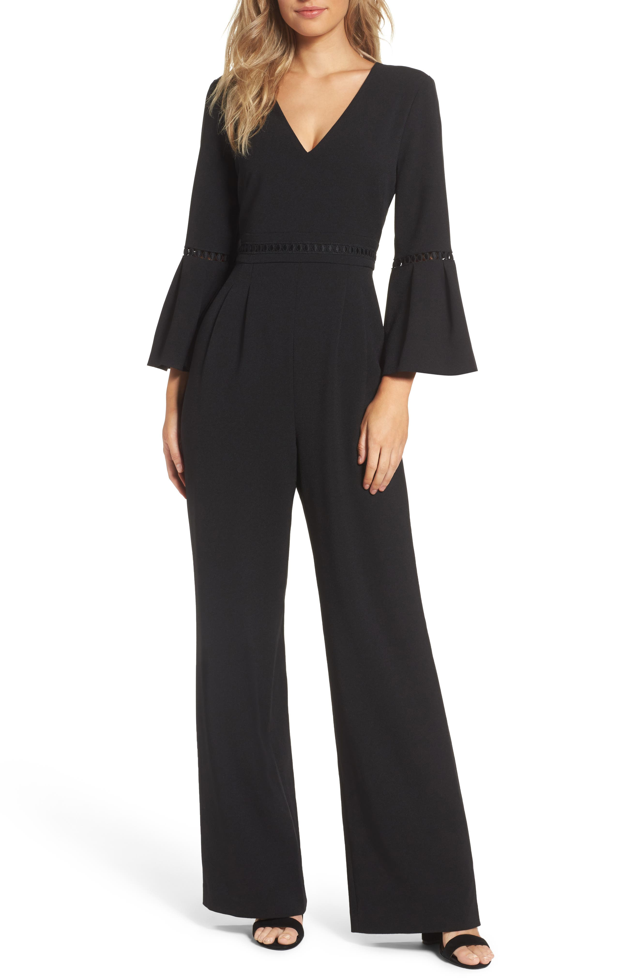 Bell Sleeve Jumpsuit,                             Main thumbnail 1, color,                             Black
