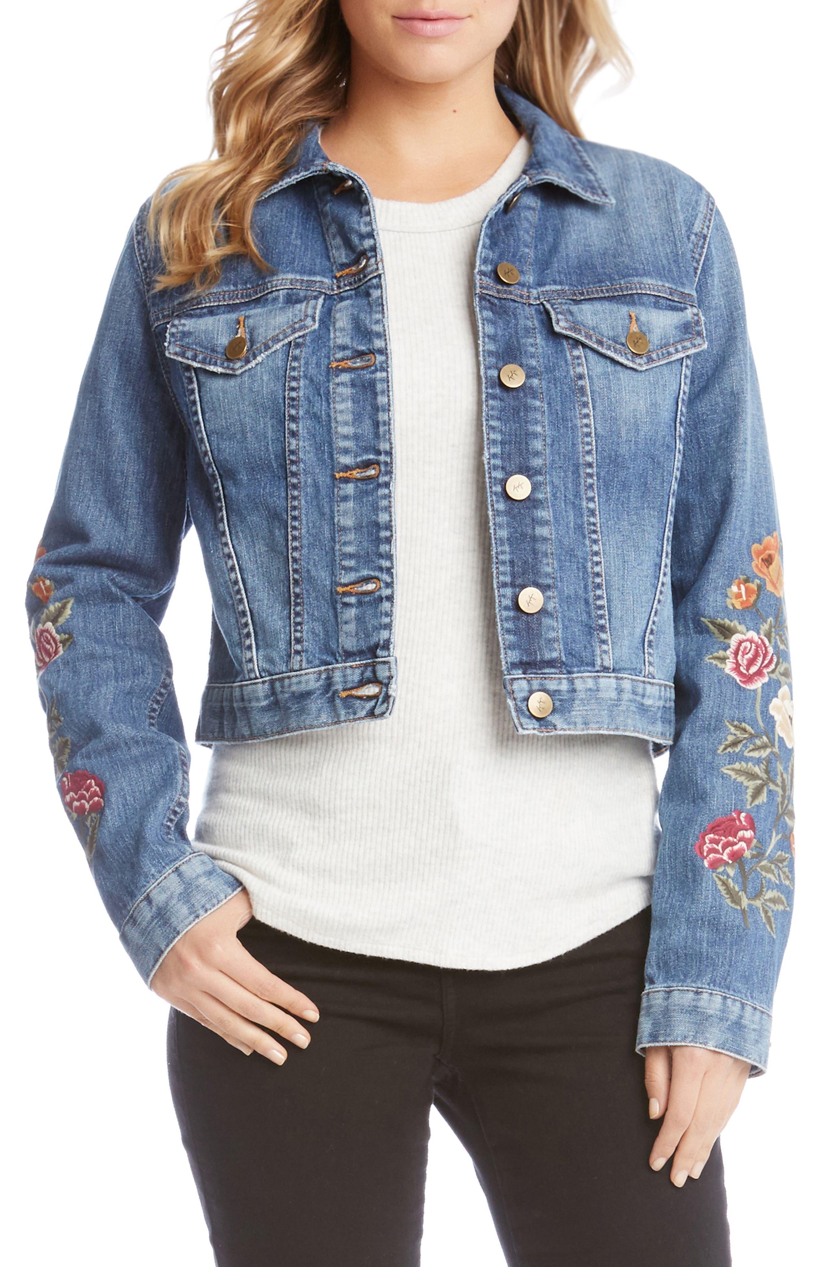 Embroidered Denim Jacket,                         Main,                         color, Denim