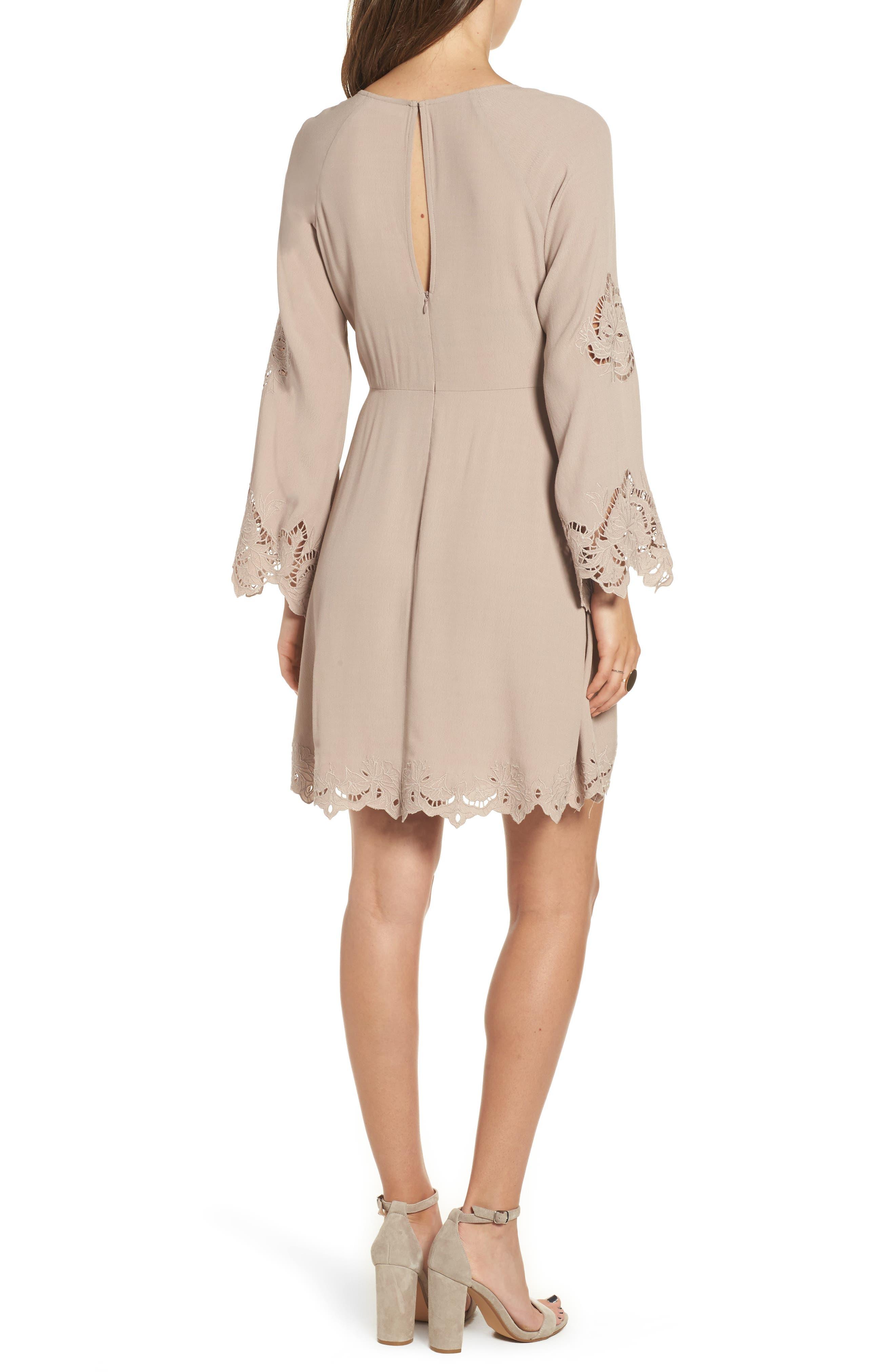 Fern Fit & Flare Dress,                             Alternate thumbnail 3, color,                             Faded Mauve