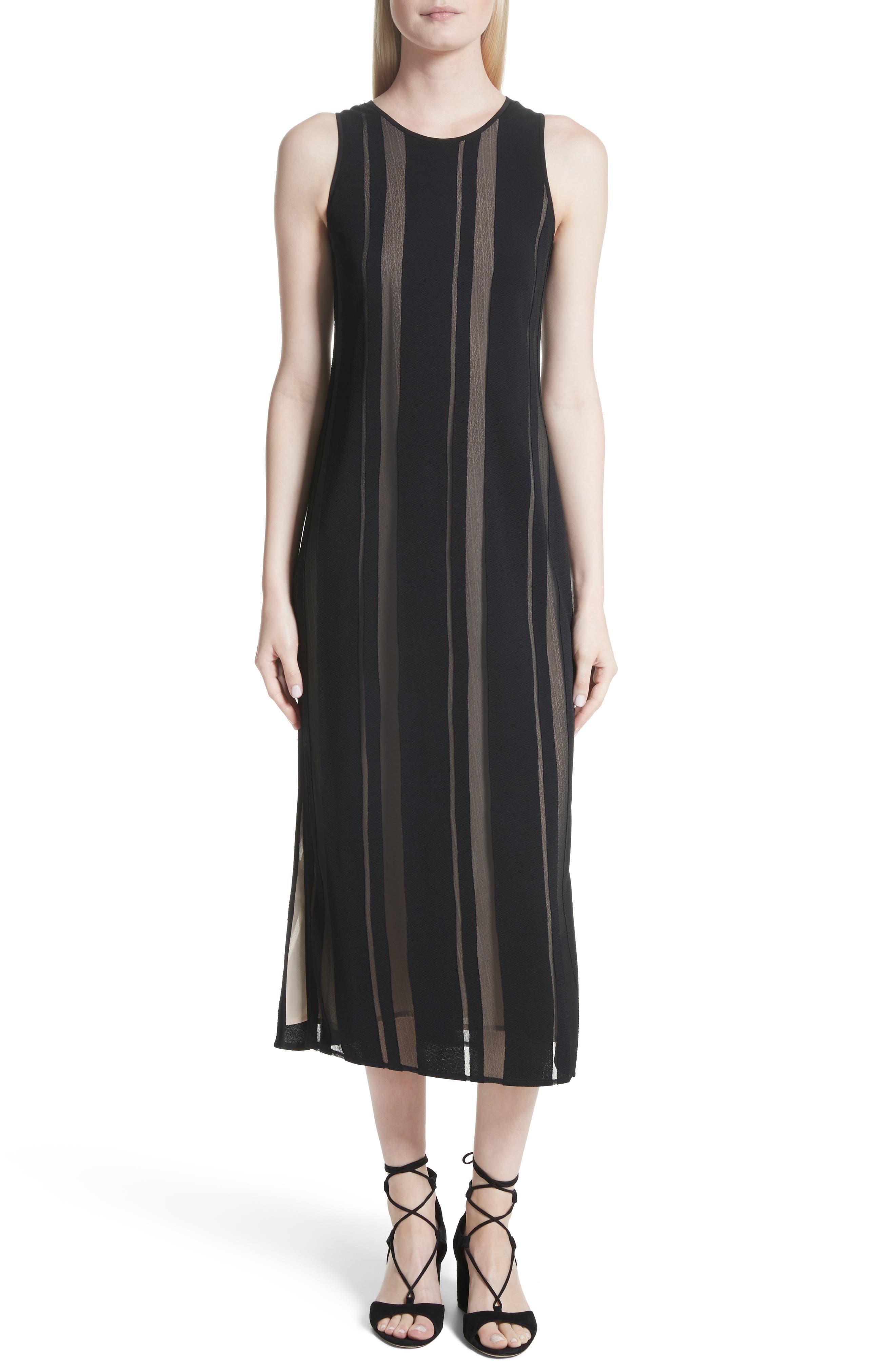 Talla Sheer Stripe Midi Dress,                         Main,                         color, Black/ Nude