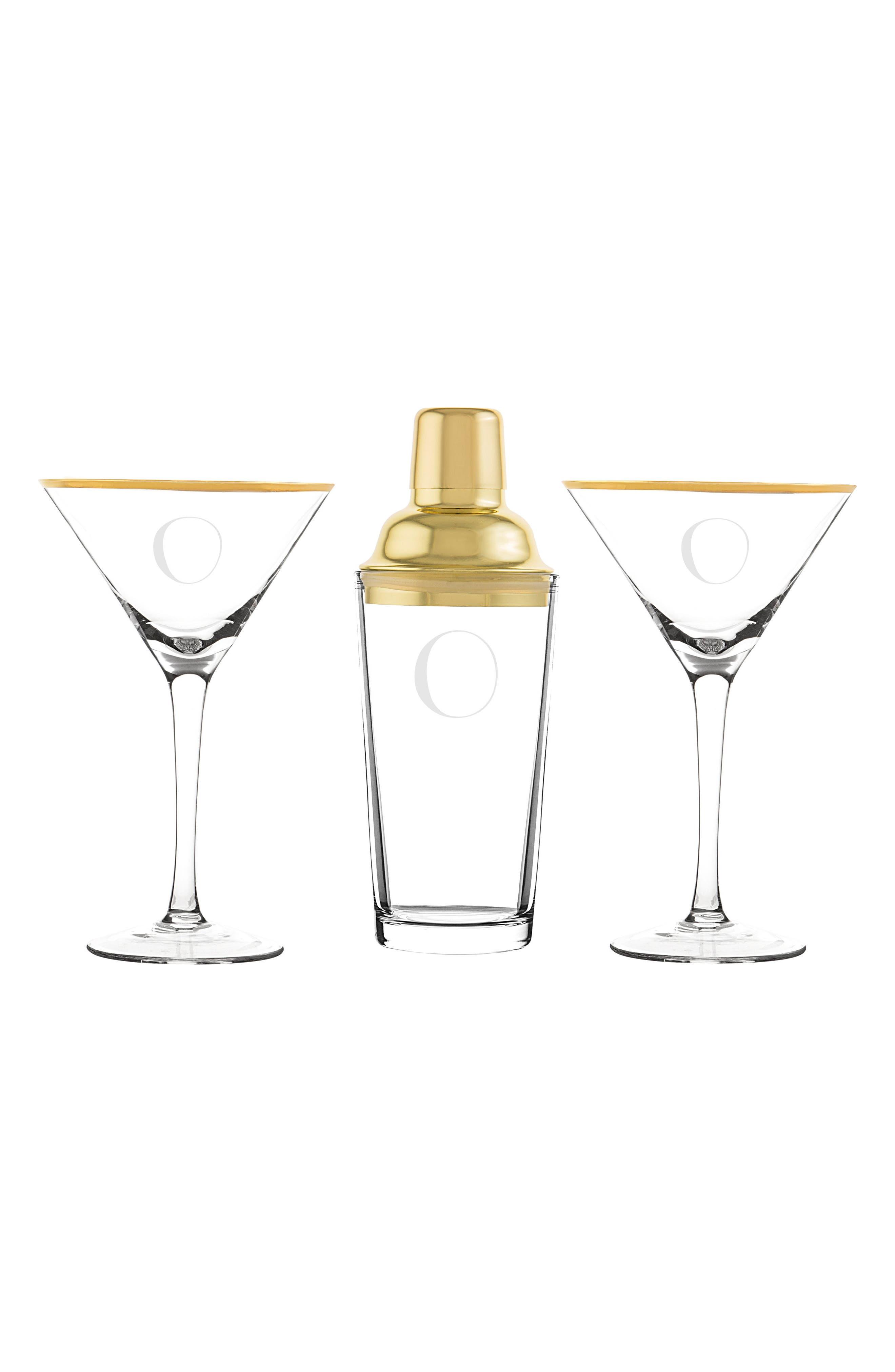 Cathy's Concepts Monogram Martini Glasses & Goldtone Cocktail Shaker