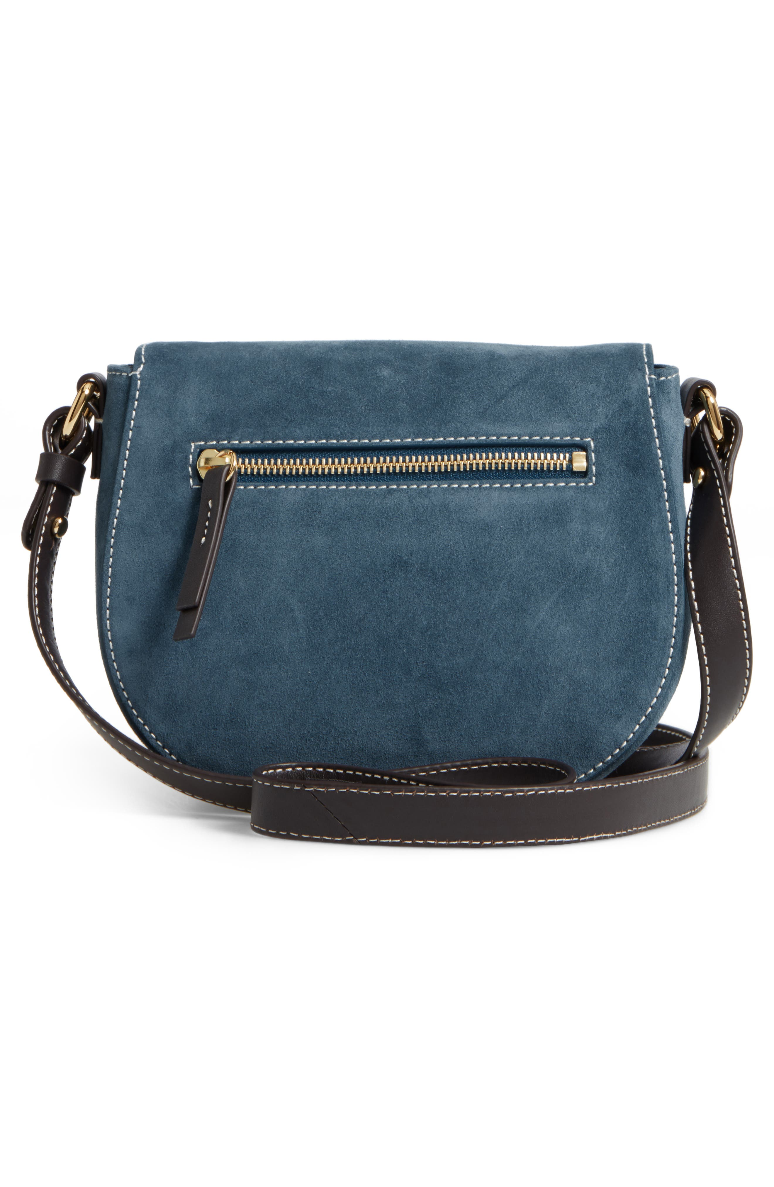 Mini Ellen Suede Crossbody Bag,                             Alternate thumbnail 3, color,                             Dark Teal
