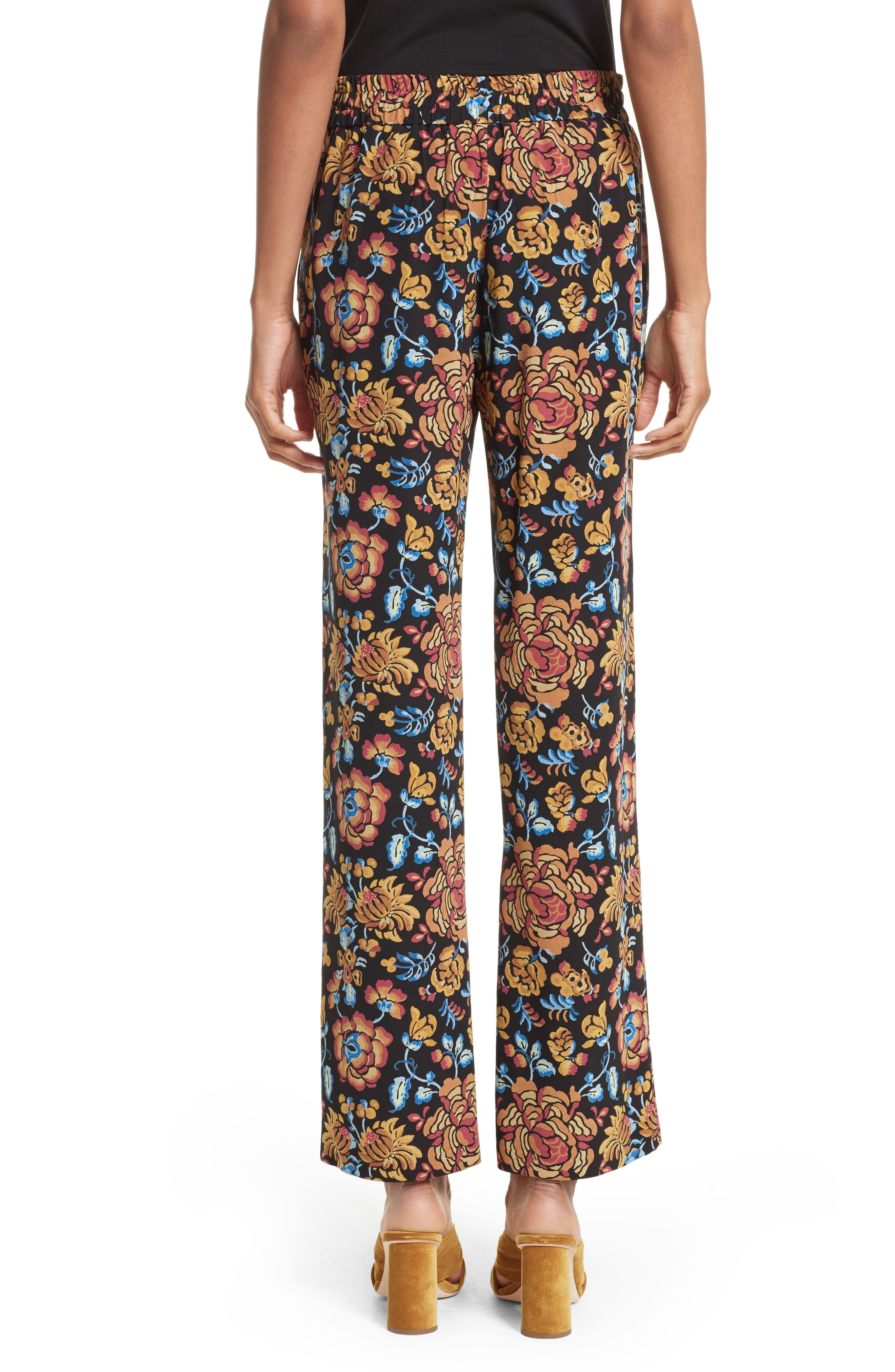 Floral Print Silk Pants,                             Alternate thumbnail 2, color,                             Black Multi