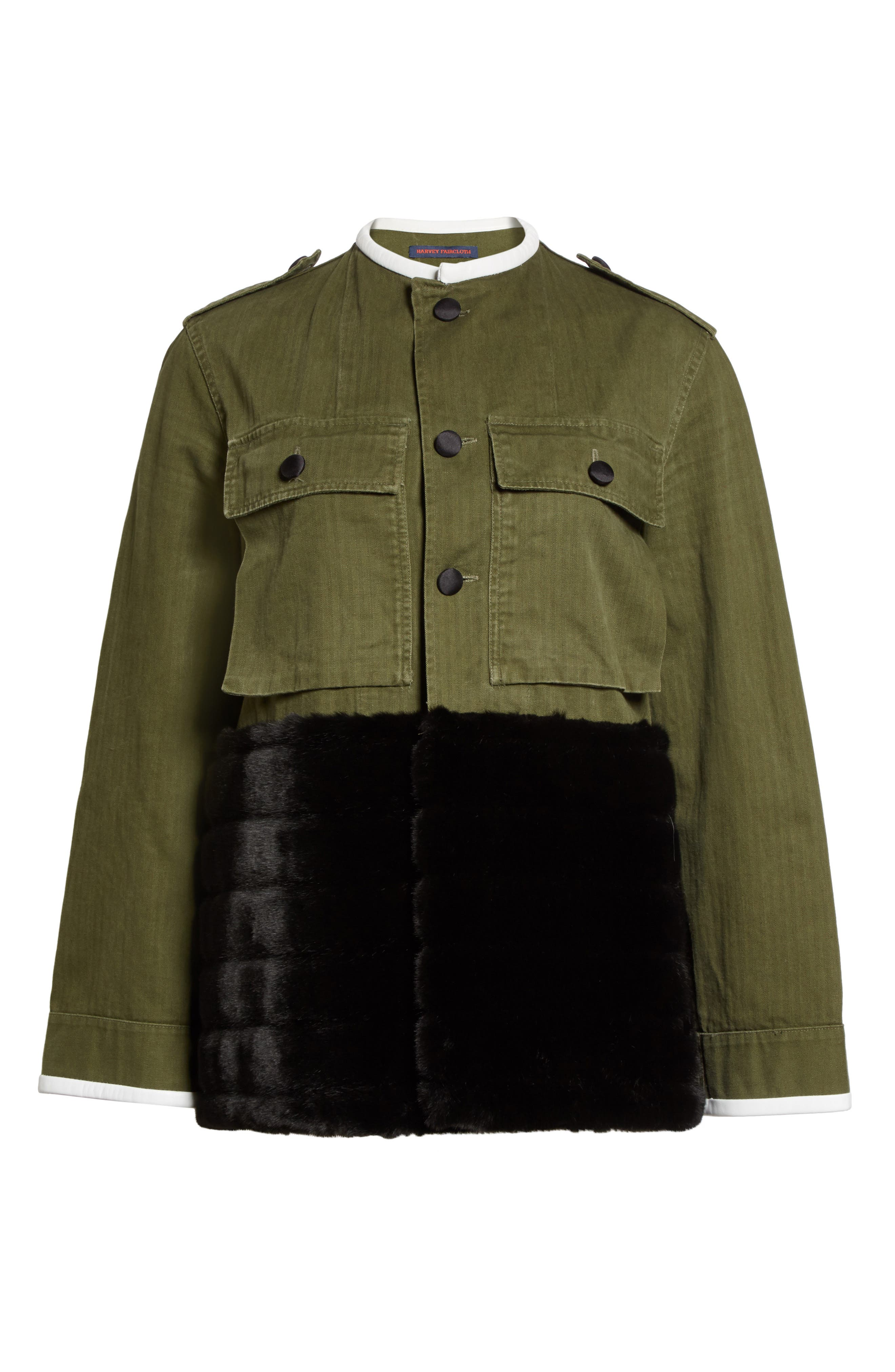 Alternate Image 6  - Harvey Faircloth Vintage Army Jacket with Faux Fur Trim