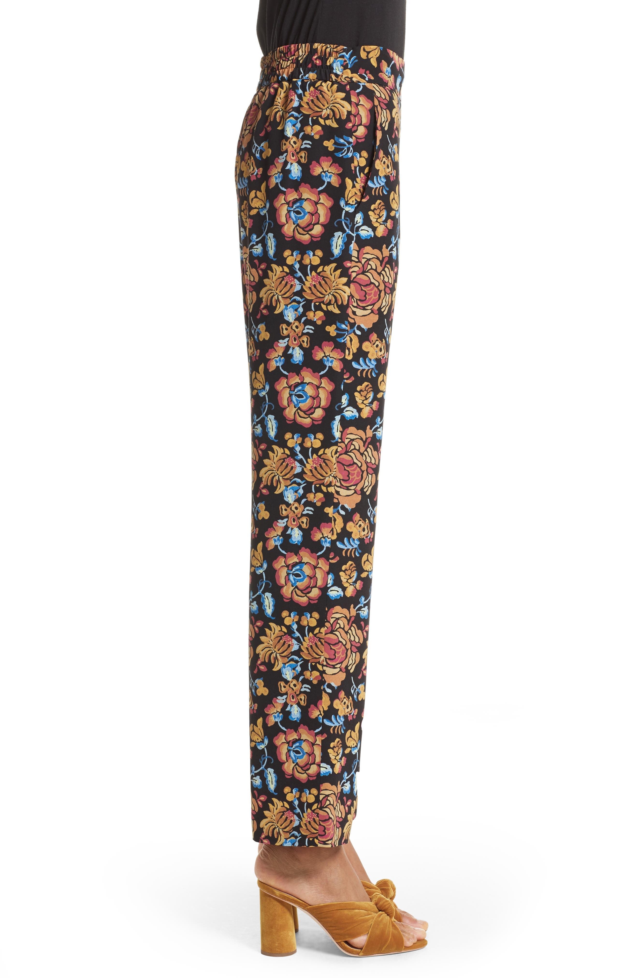 Floral Print Silk Pants,                             Alternate thumbnail 3, color,                             Black Multi