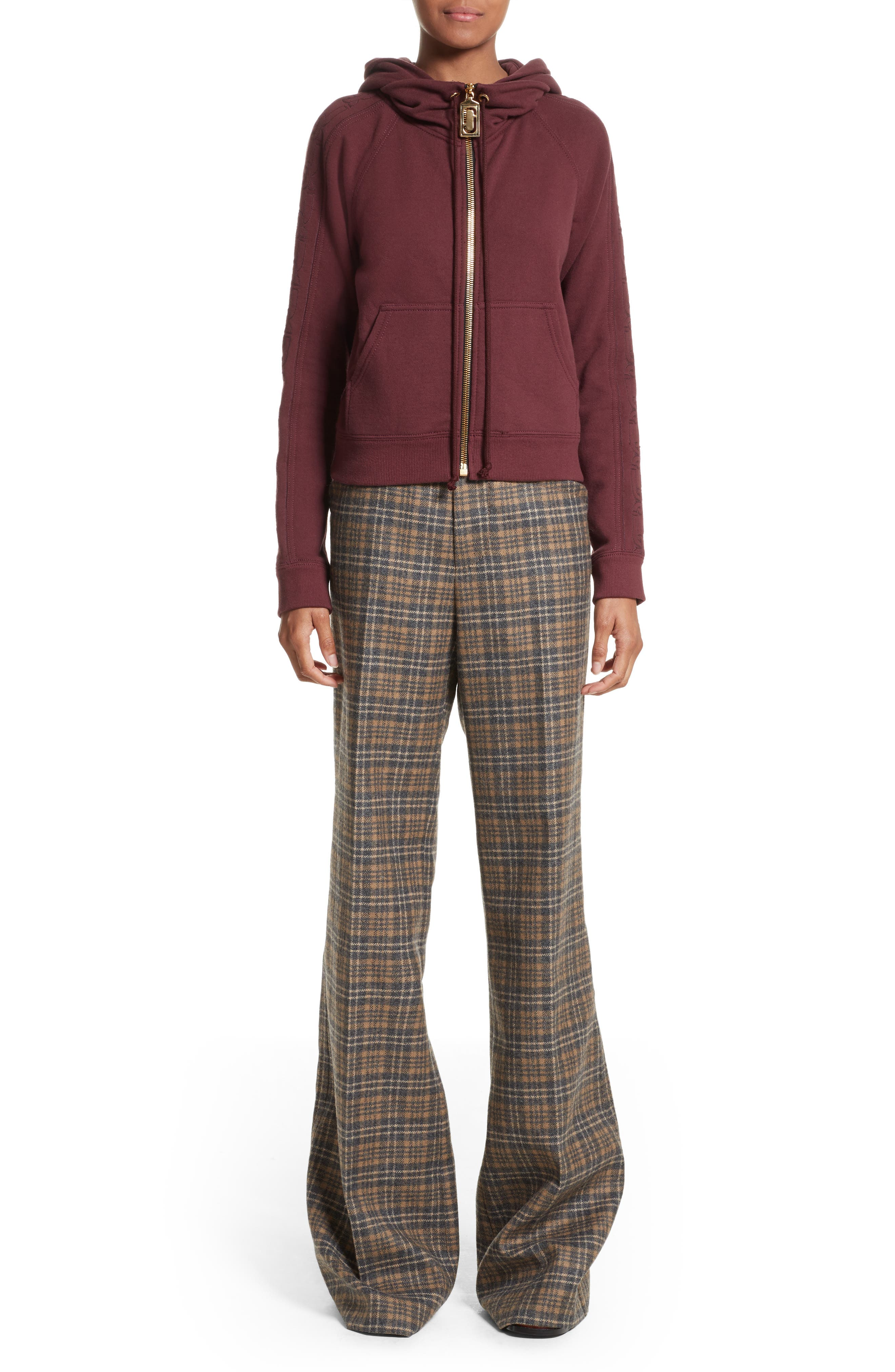Plaid Wool Blend Wide Leg Pants,                             Alternate thumbnail 8, color,                             Camel Multi