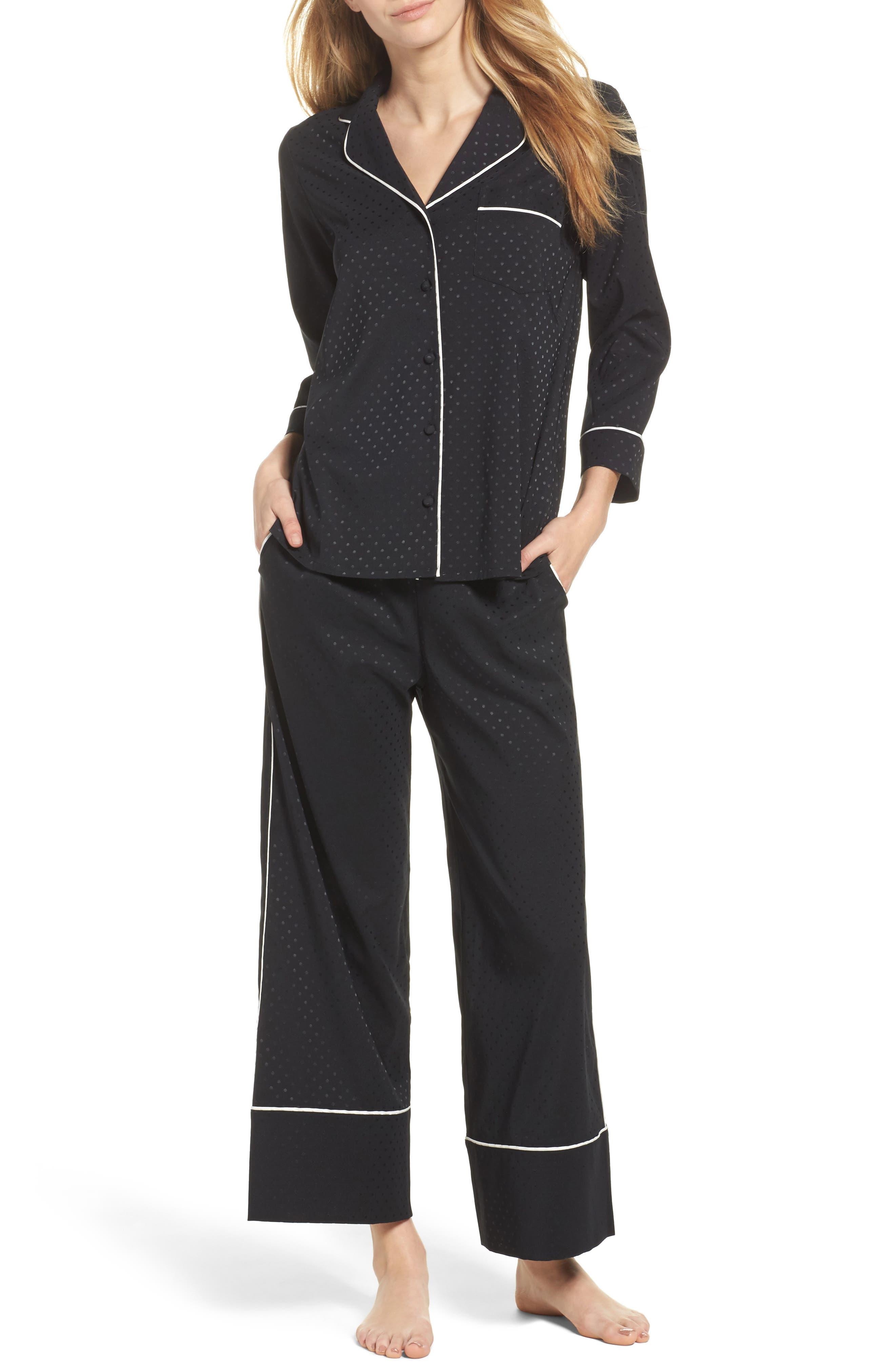 crop pajamas,                             Main thumbnail 1, color,                             Black
