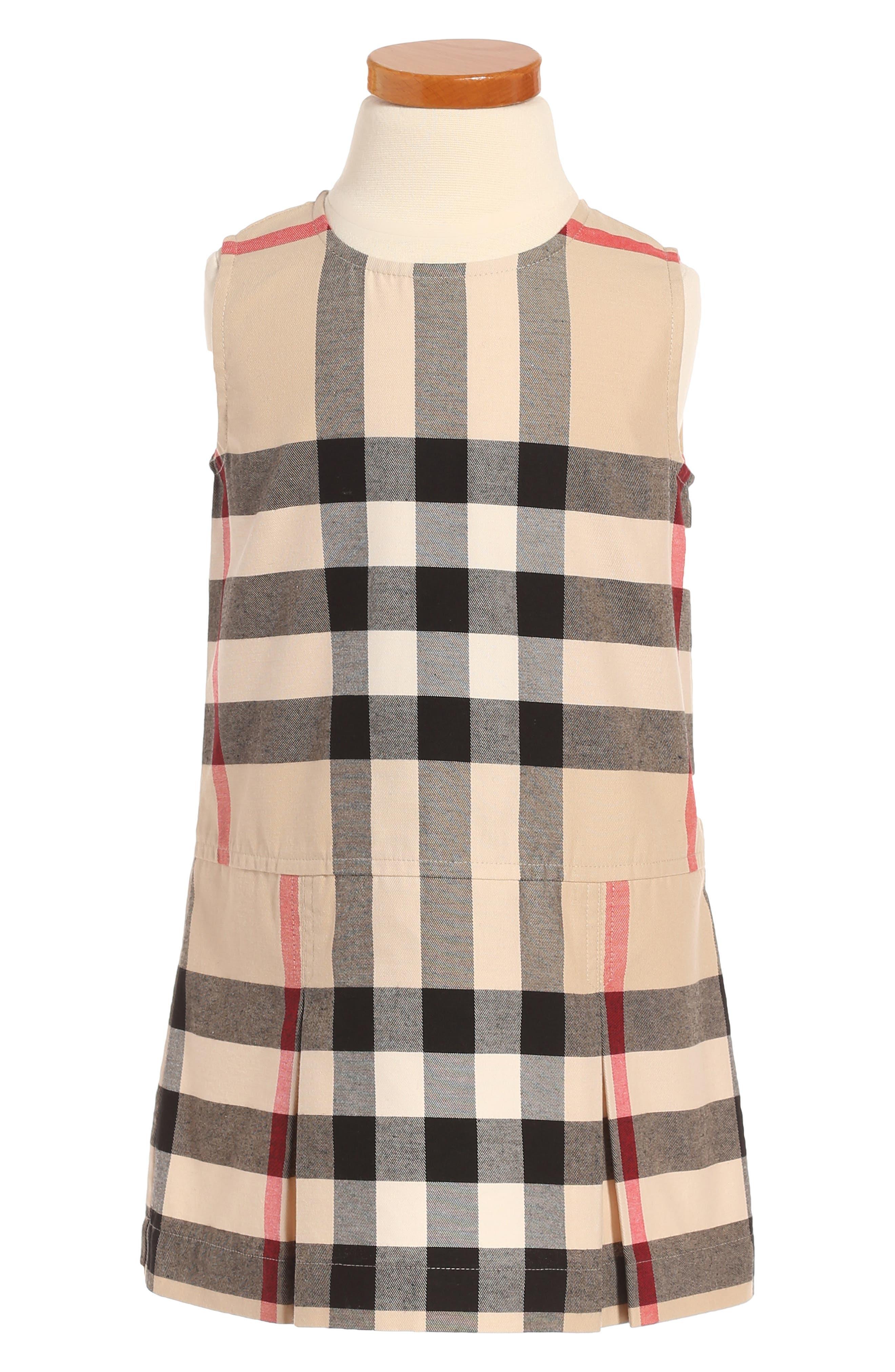 Alternate Image 1 Selected - Burberry Dawny Check Print Sleeveless Dress (Toddler Girls)