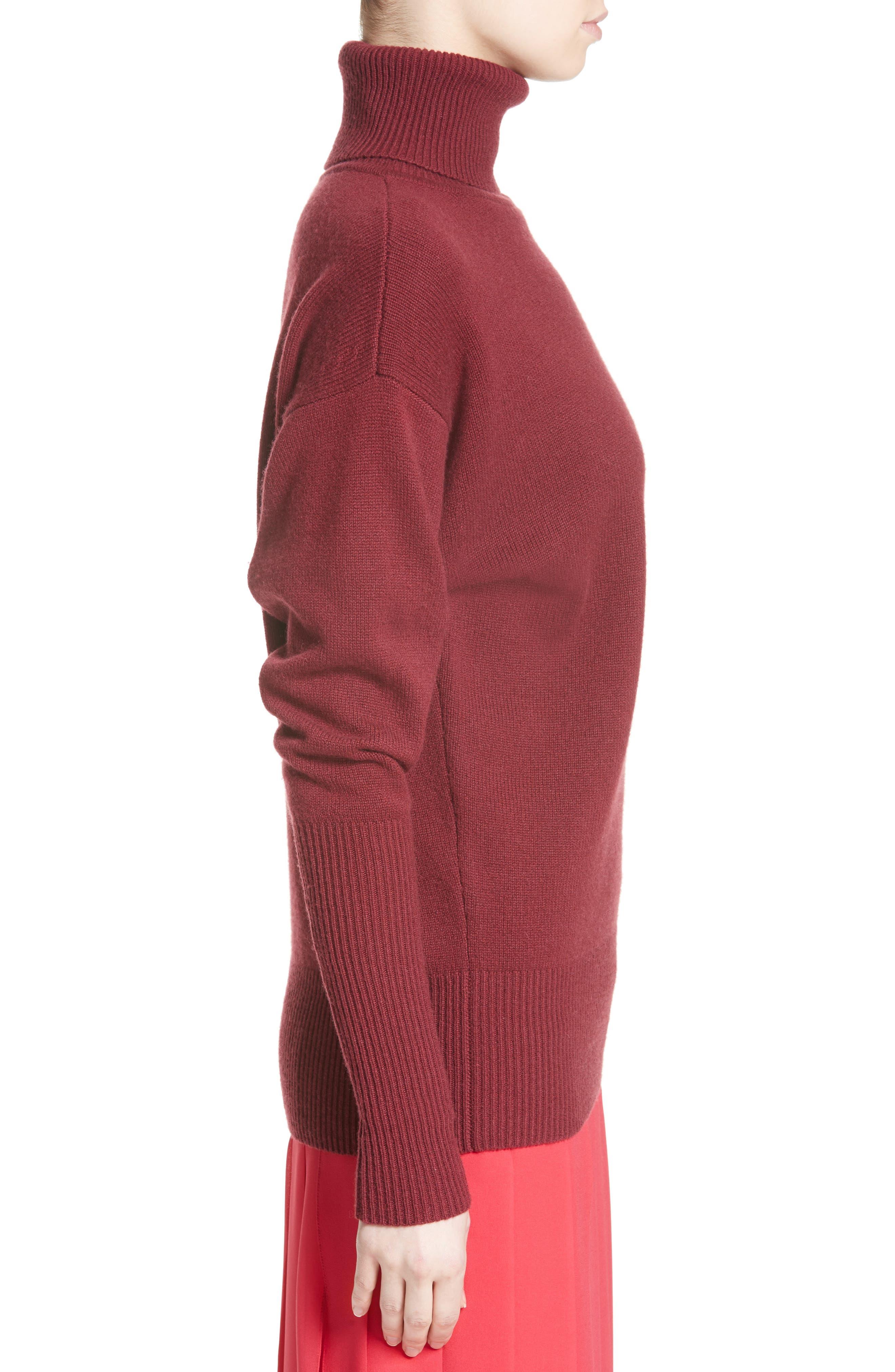 Cashmere Turtleneck Sweater,                             Alternate thumbnail 3, color,                             Cherry