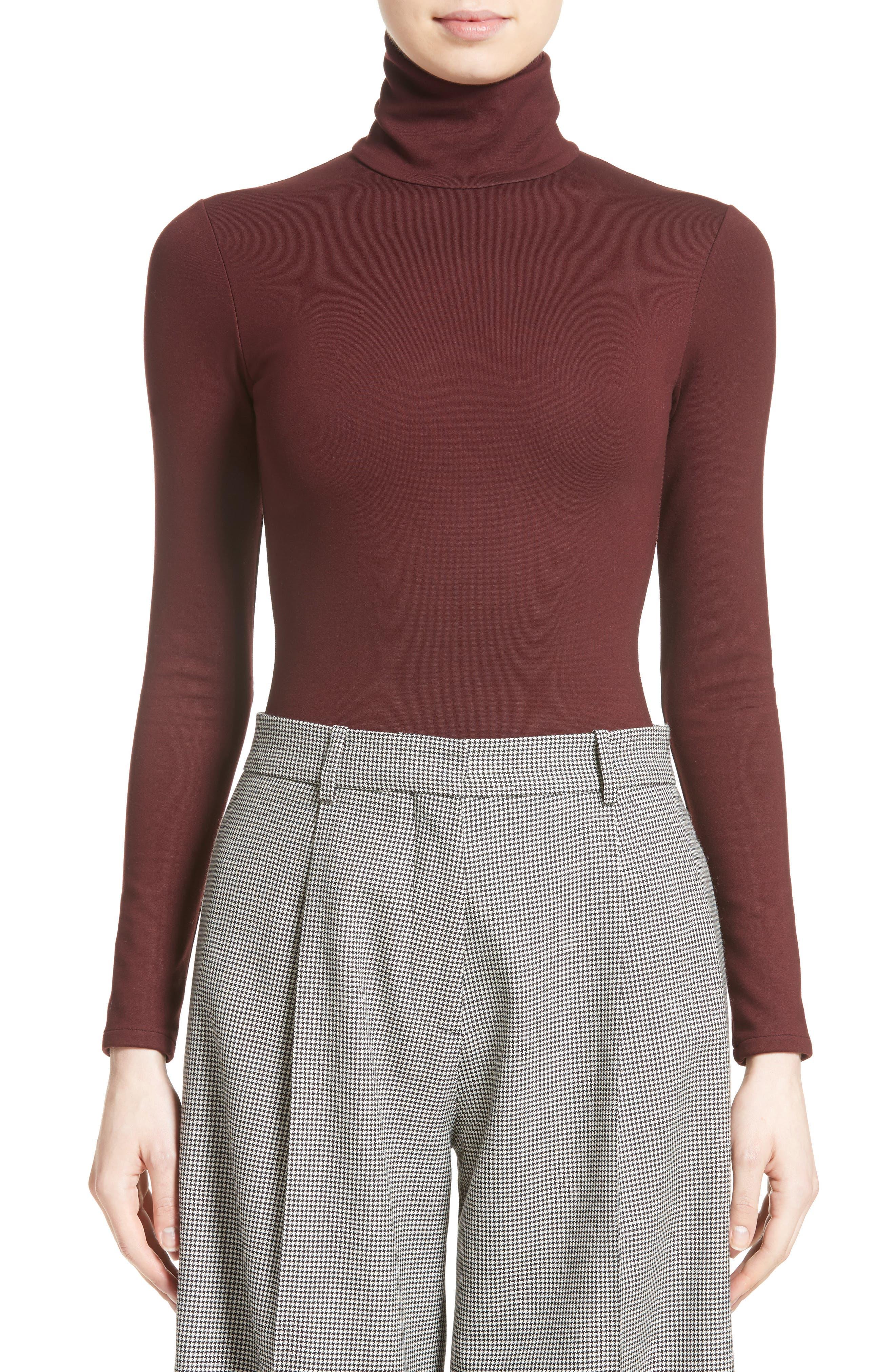 Jersey Turtleneck Bodysuit,                         Main,                         color, Wine