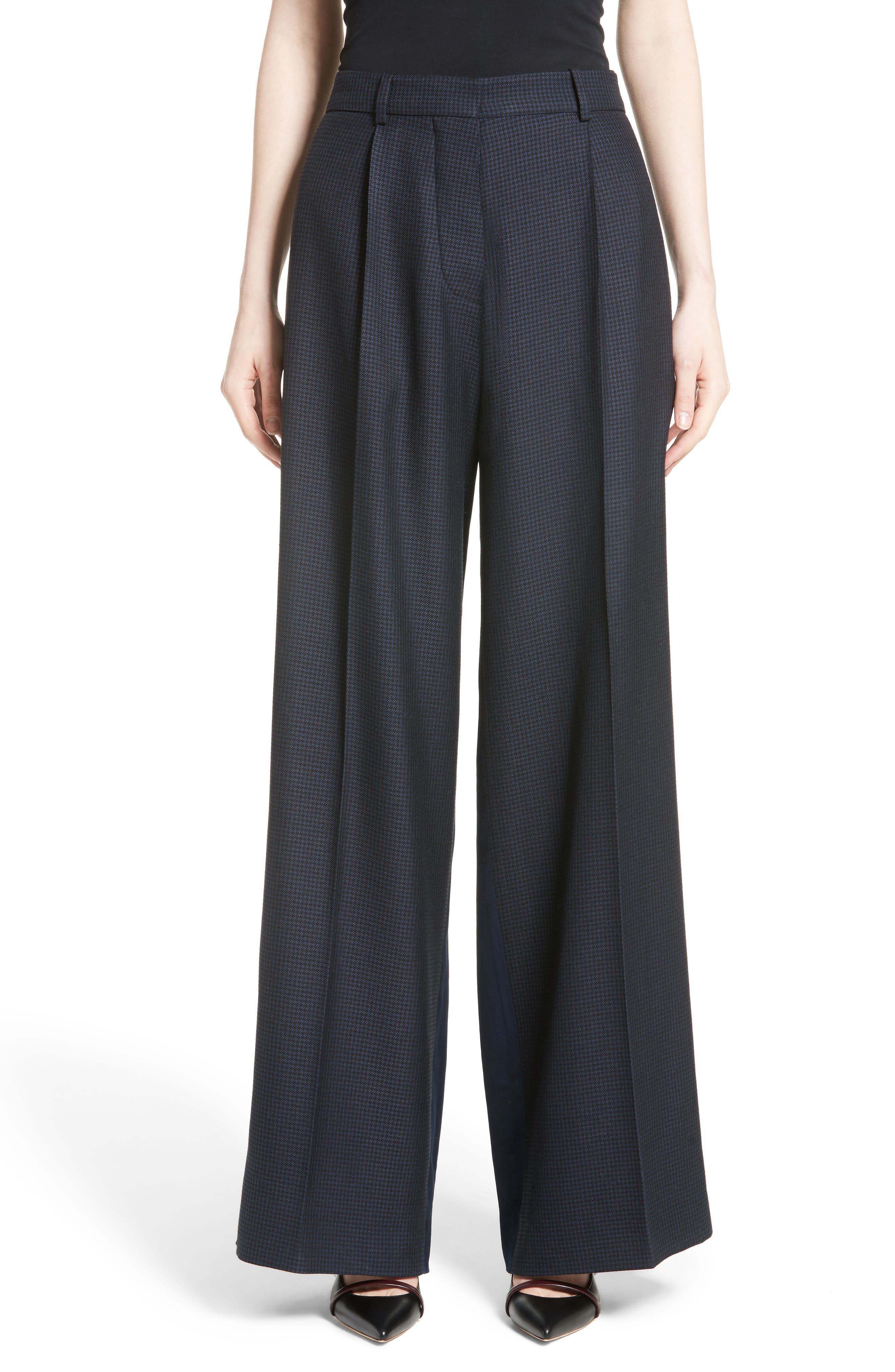 Main Image - Victoria Beckham Houndstooth Wide Leg Pants