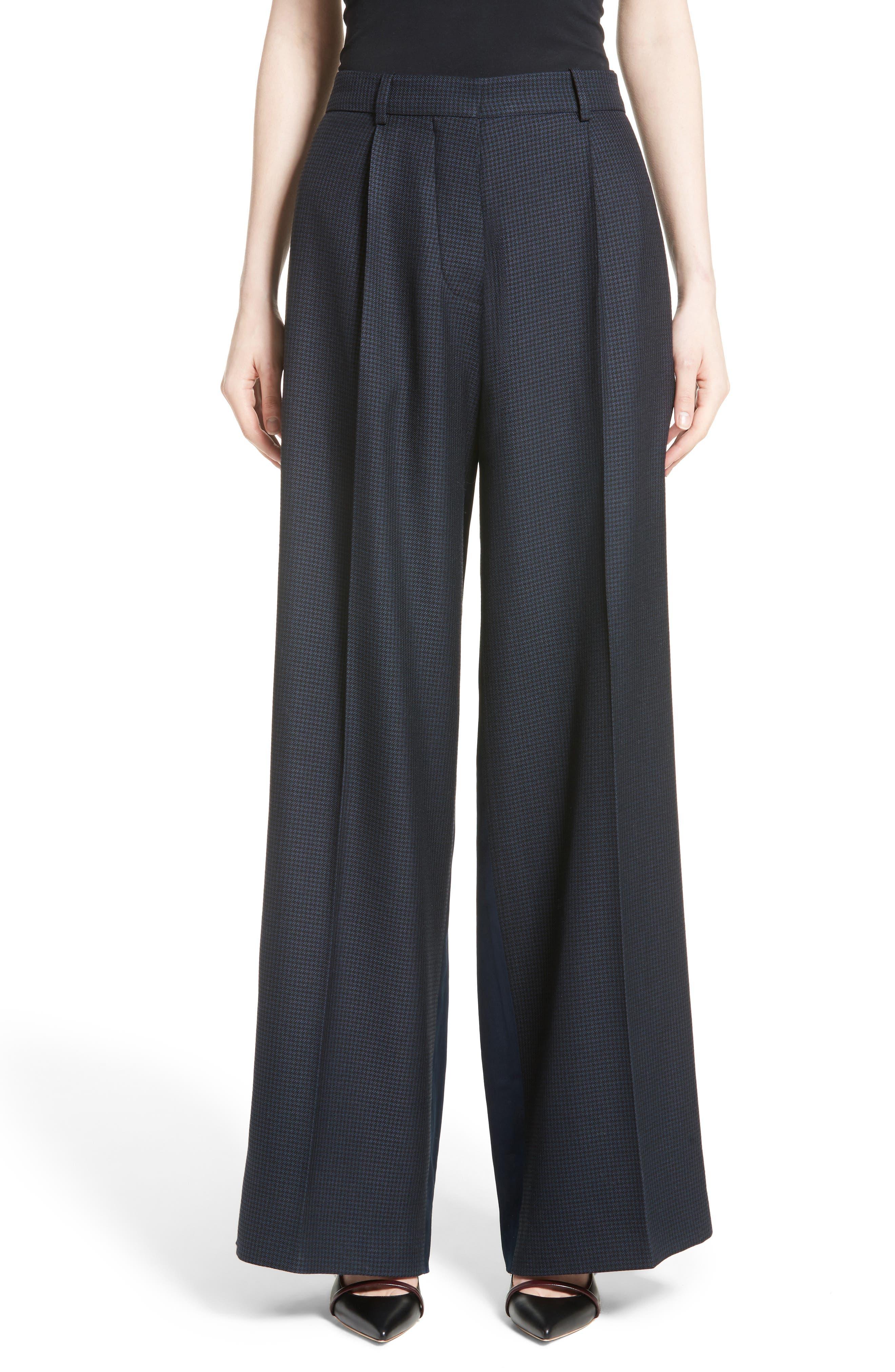 Victoria Beckham Houndstooth Wide Leg Pants