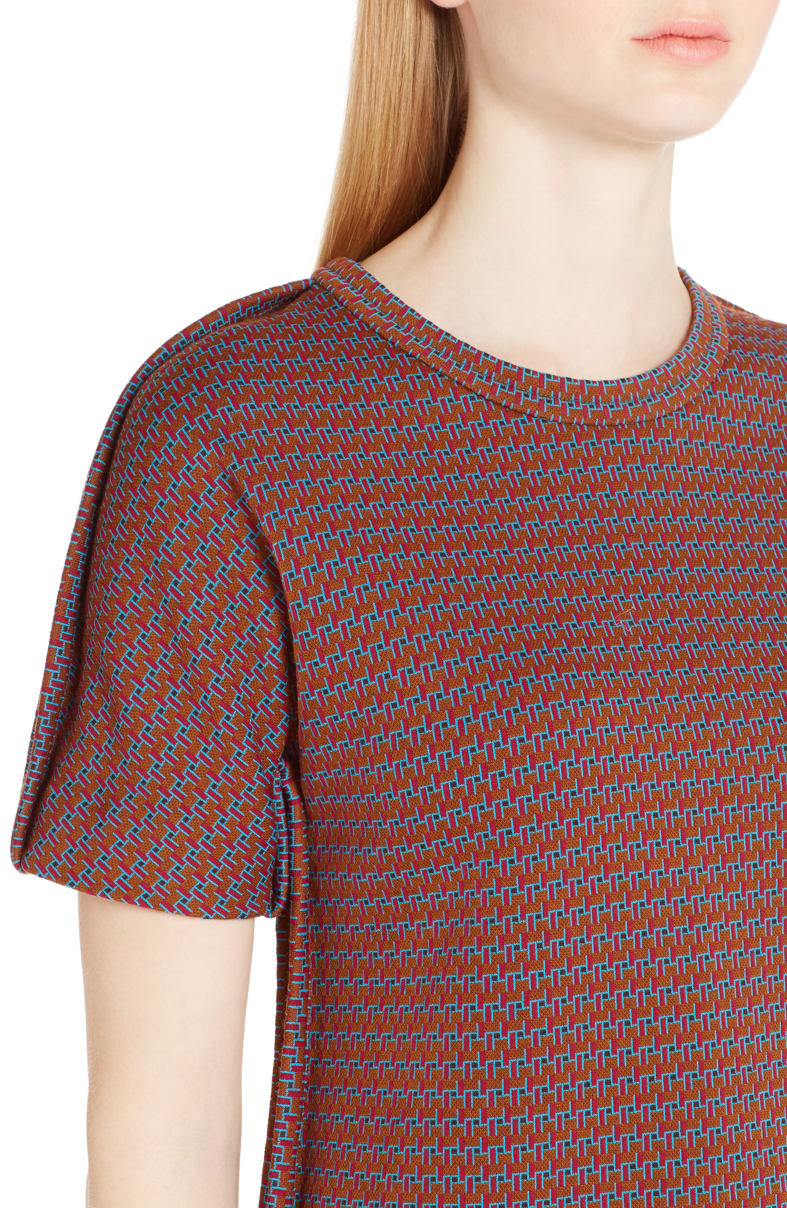 Micro Pattern Jersey Top,                             Alternate thumbnail 4, color,                             China Red