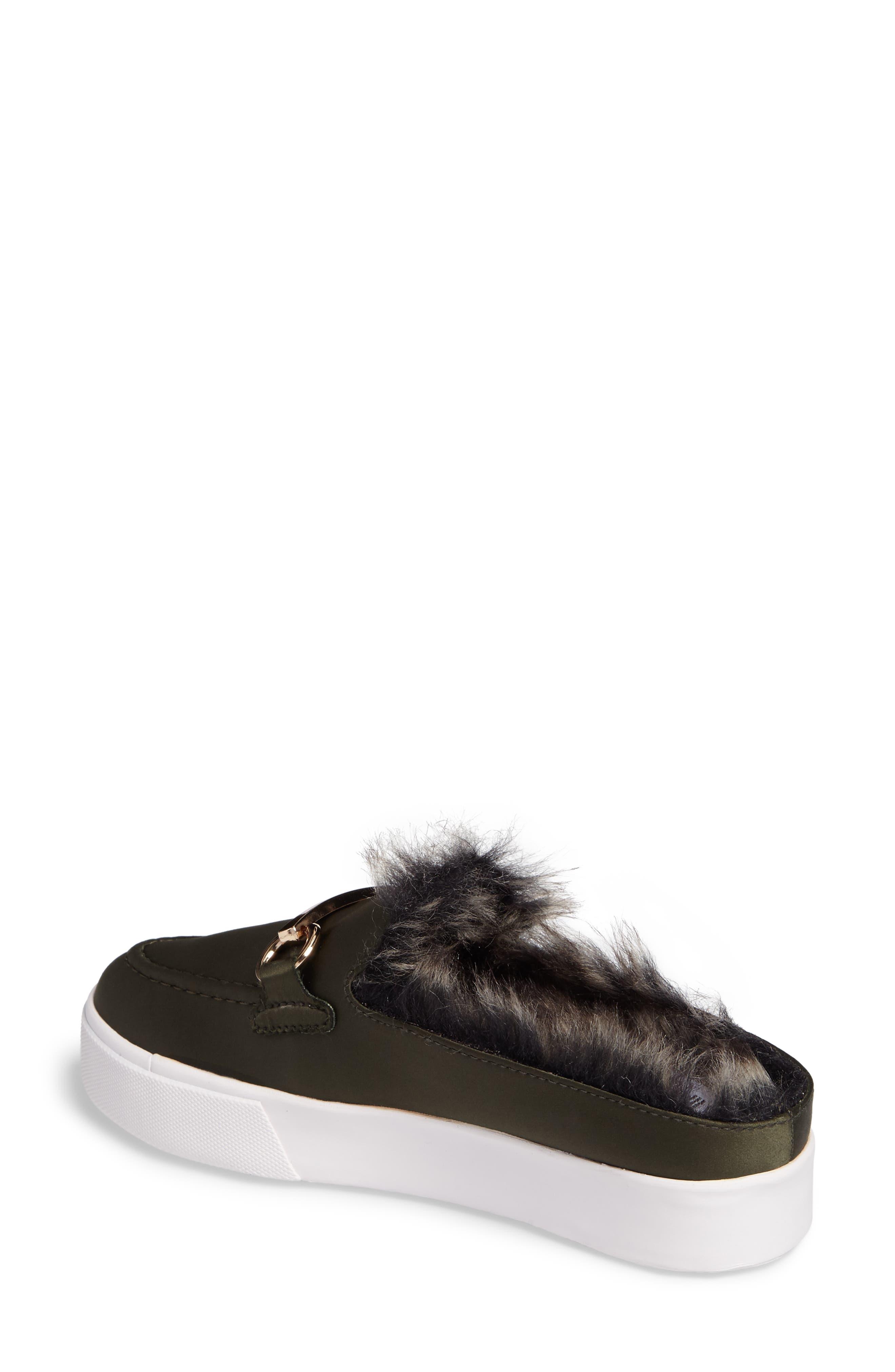 Tico Faux Fur Sneaker Mule,                             Alternate thumbnail 2, color,                             Olive Satin-Gold-Grey