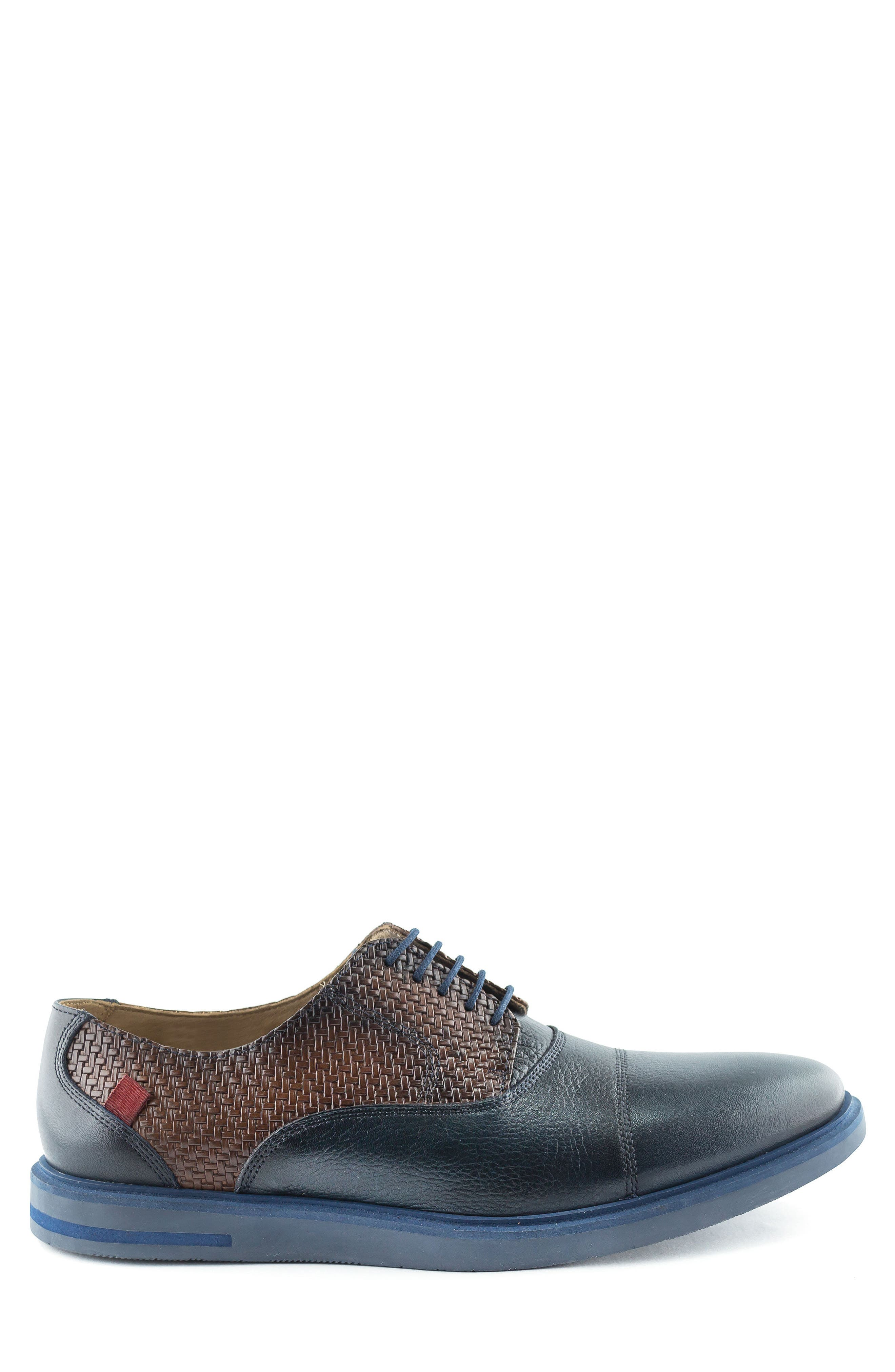 Manhattan Cap Toe Oxford,                             Alternate thumbnail 3, color,                             Navy Leather