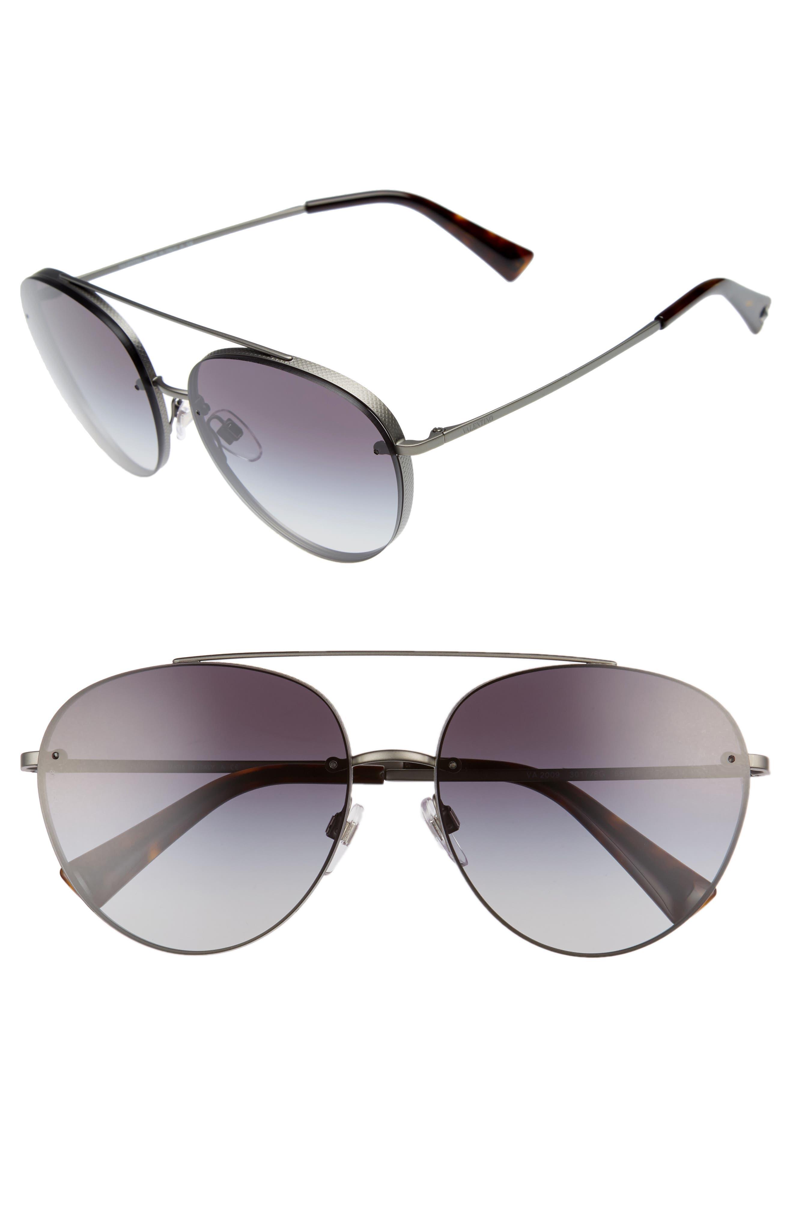 Main Image - Valentino 58mm Gradient Aviator Sunglasses