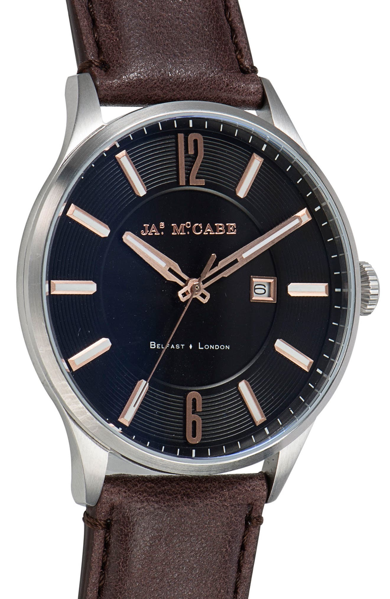 Alternate Image 4  - James McCabe New Belfast Slim Leather Strap Watch, 40mm