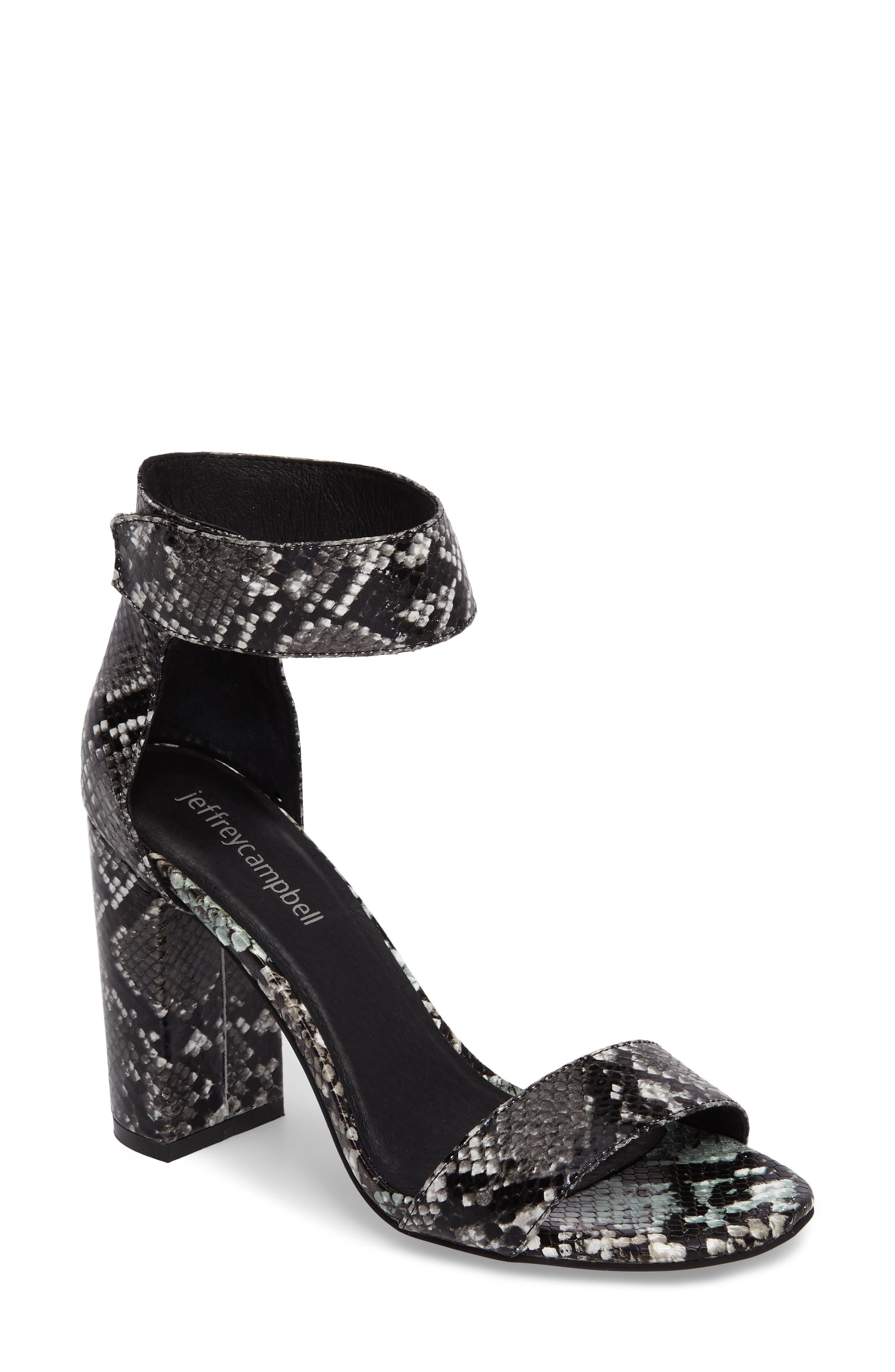 'Lindsay' Ankle Strap Sandal,                             Main thumbnail 1, color,                             Black Grey Snake