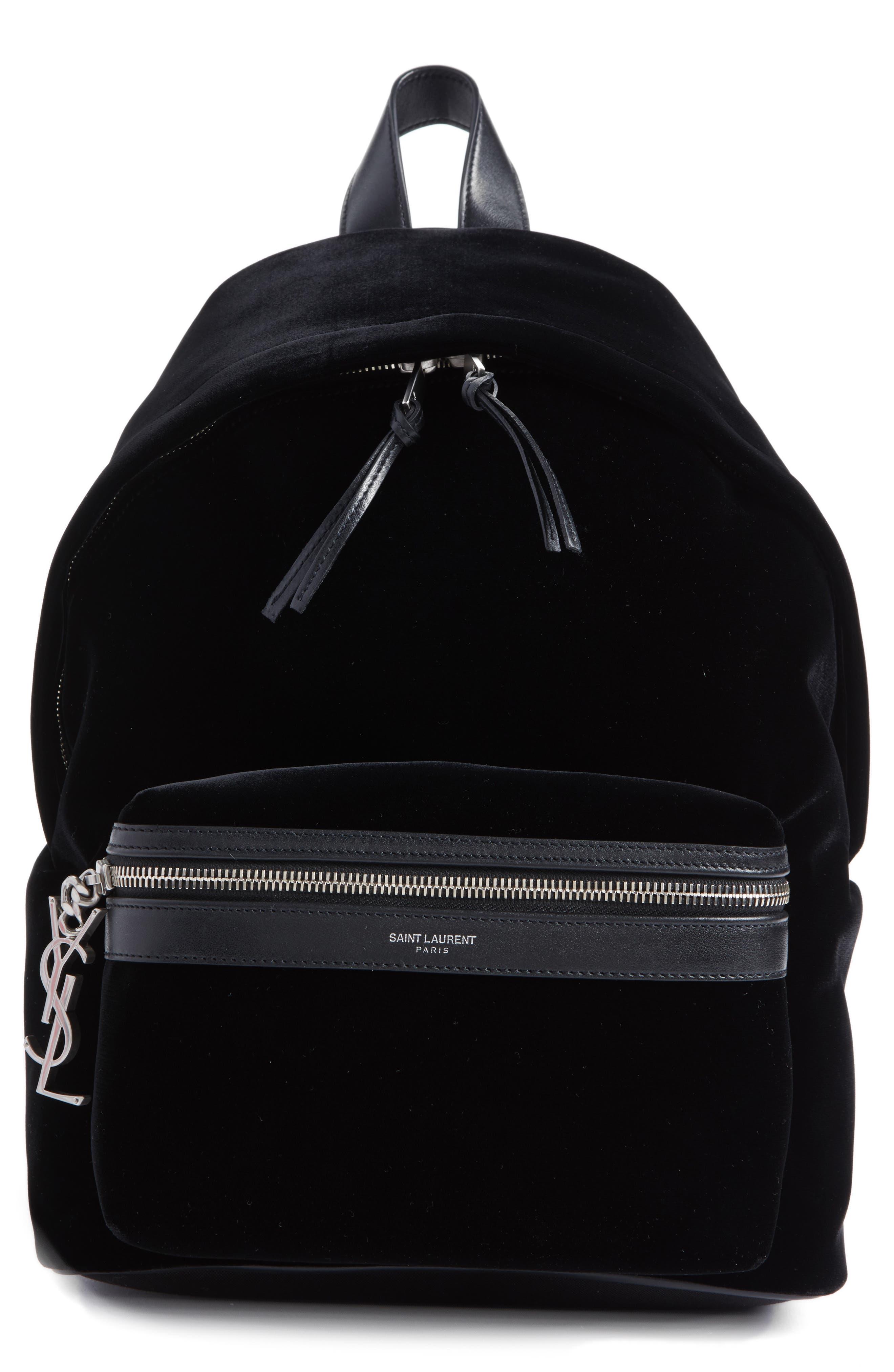 Saint Laurent Mini City Velour Backpack