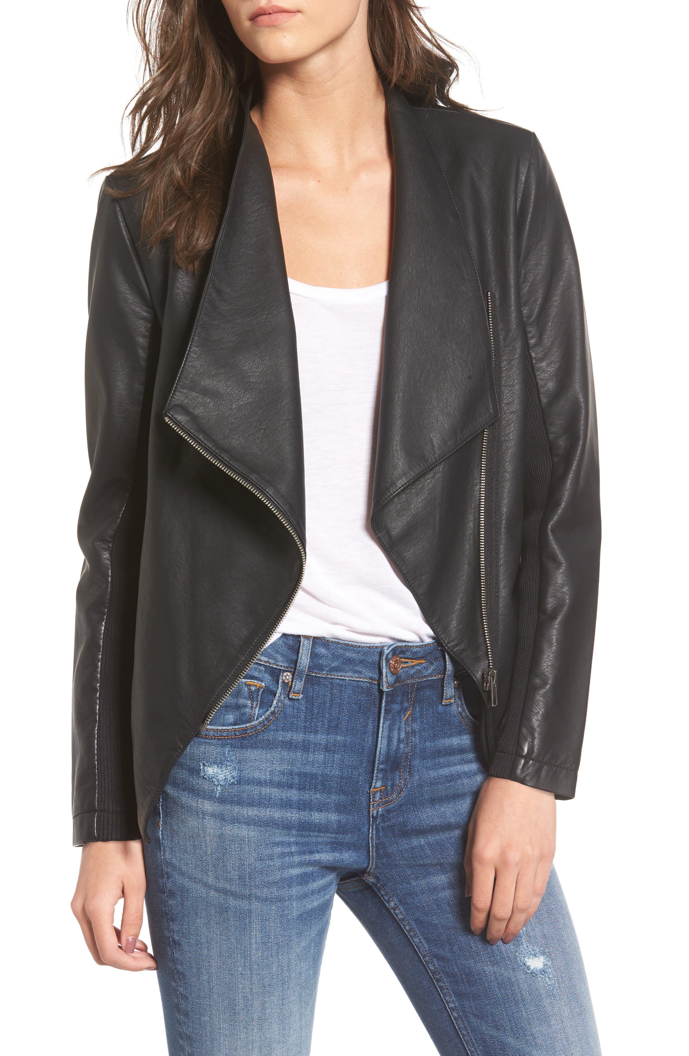 BB Dakota Gabrielle Faux Leather Asymmetrical Jacket