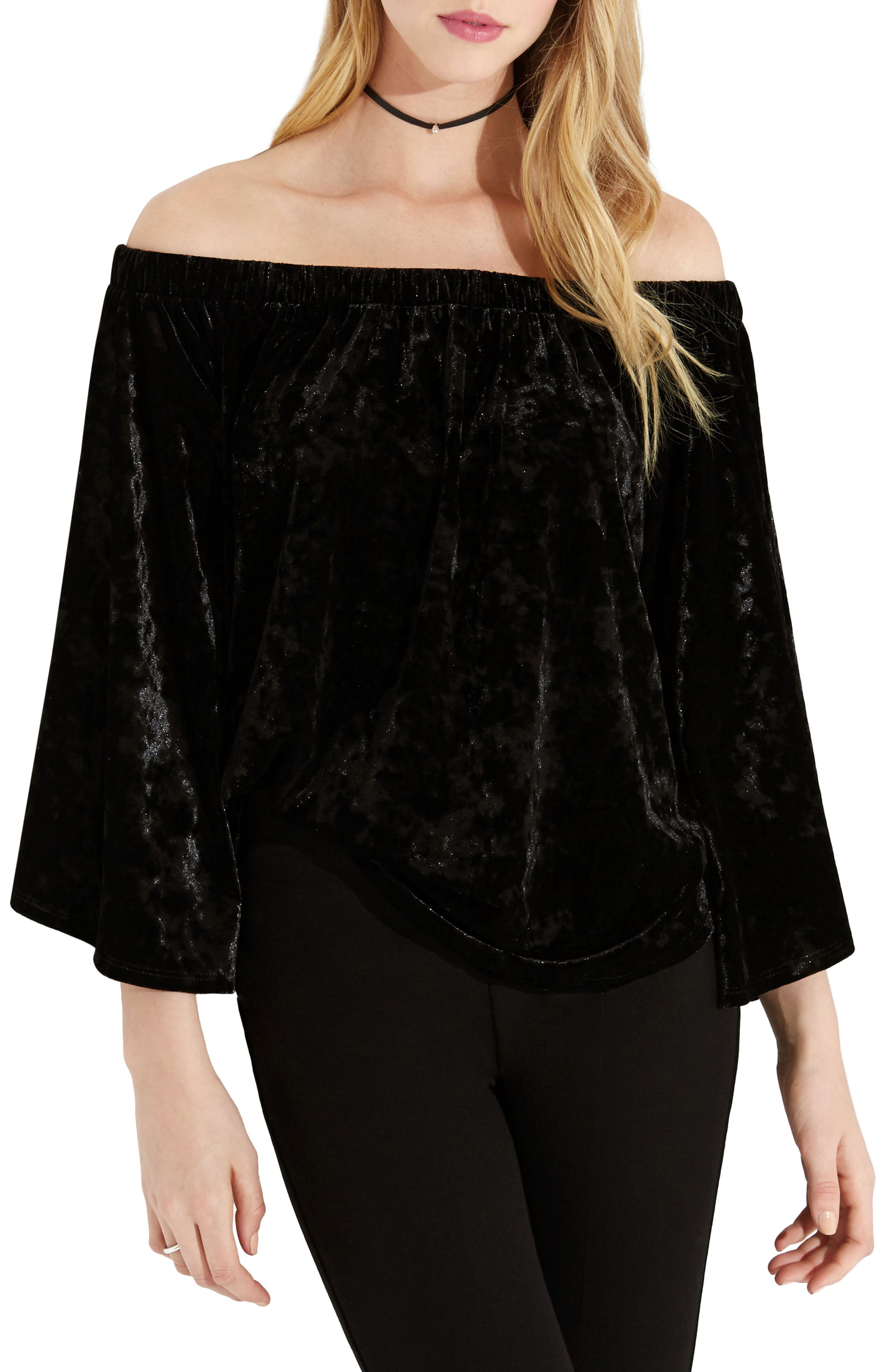 Kane Karen Off the Shoulder Velvet Top,                             Main thumbnail 1, color,                             Black