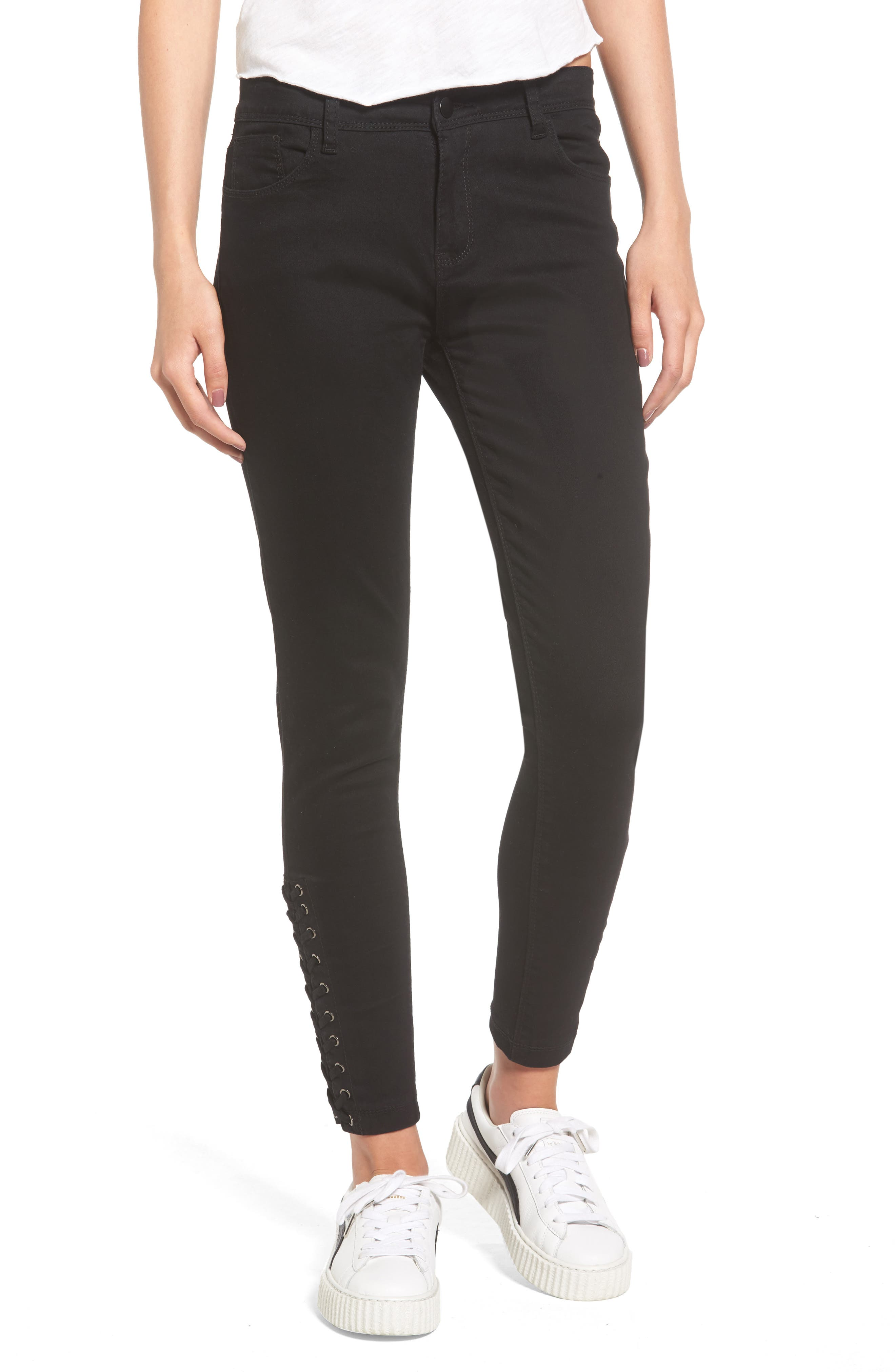 Rockaway Skinny Jeans,                         Main,                         color, Black