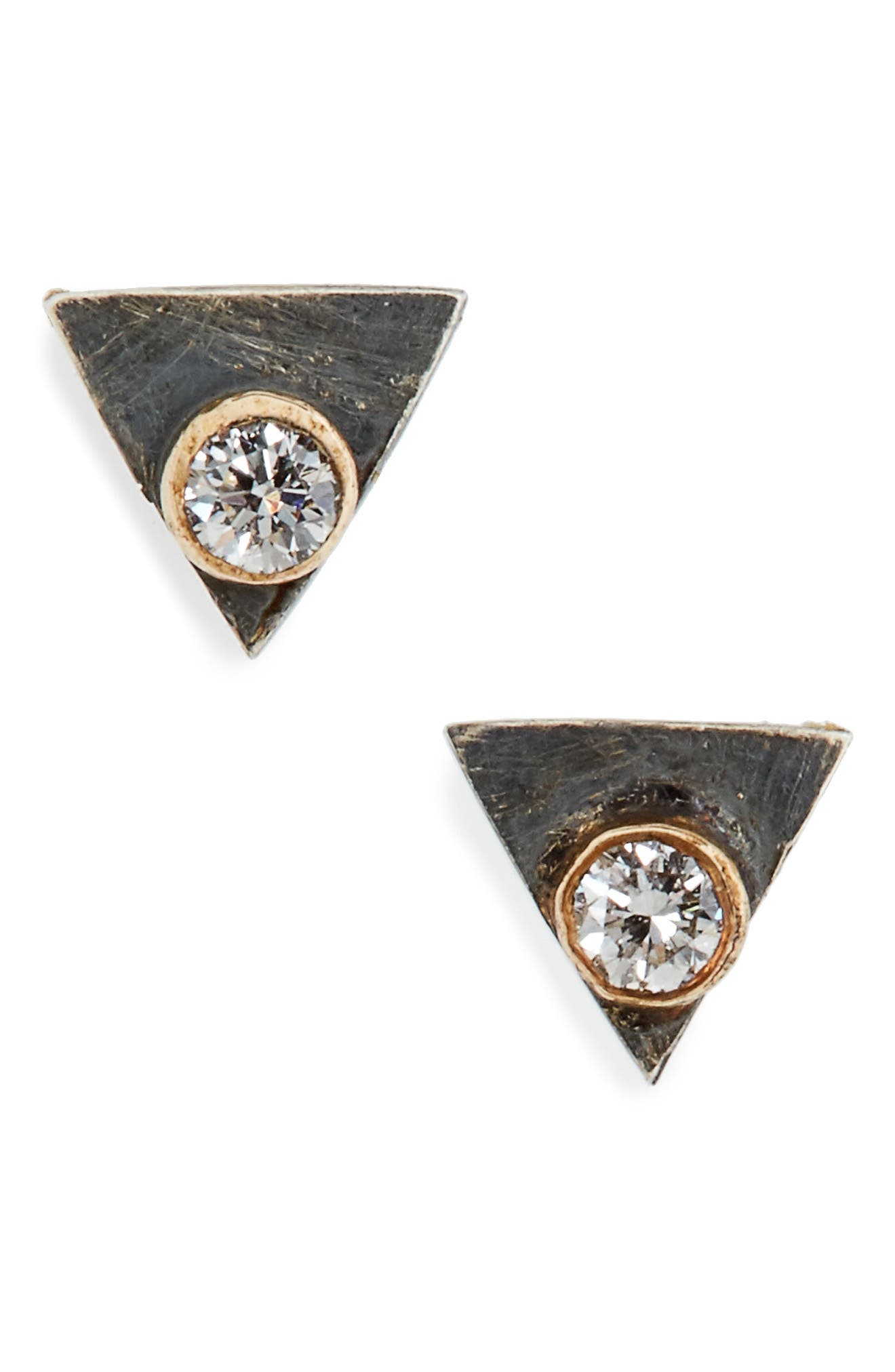 MELISSA JOY MANNING Triangle Diamond Stud Earrings