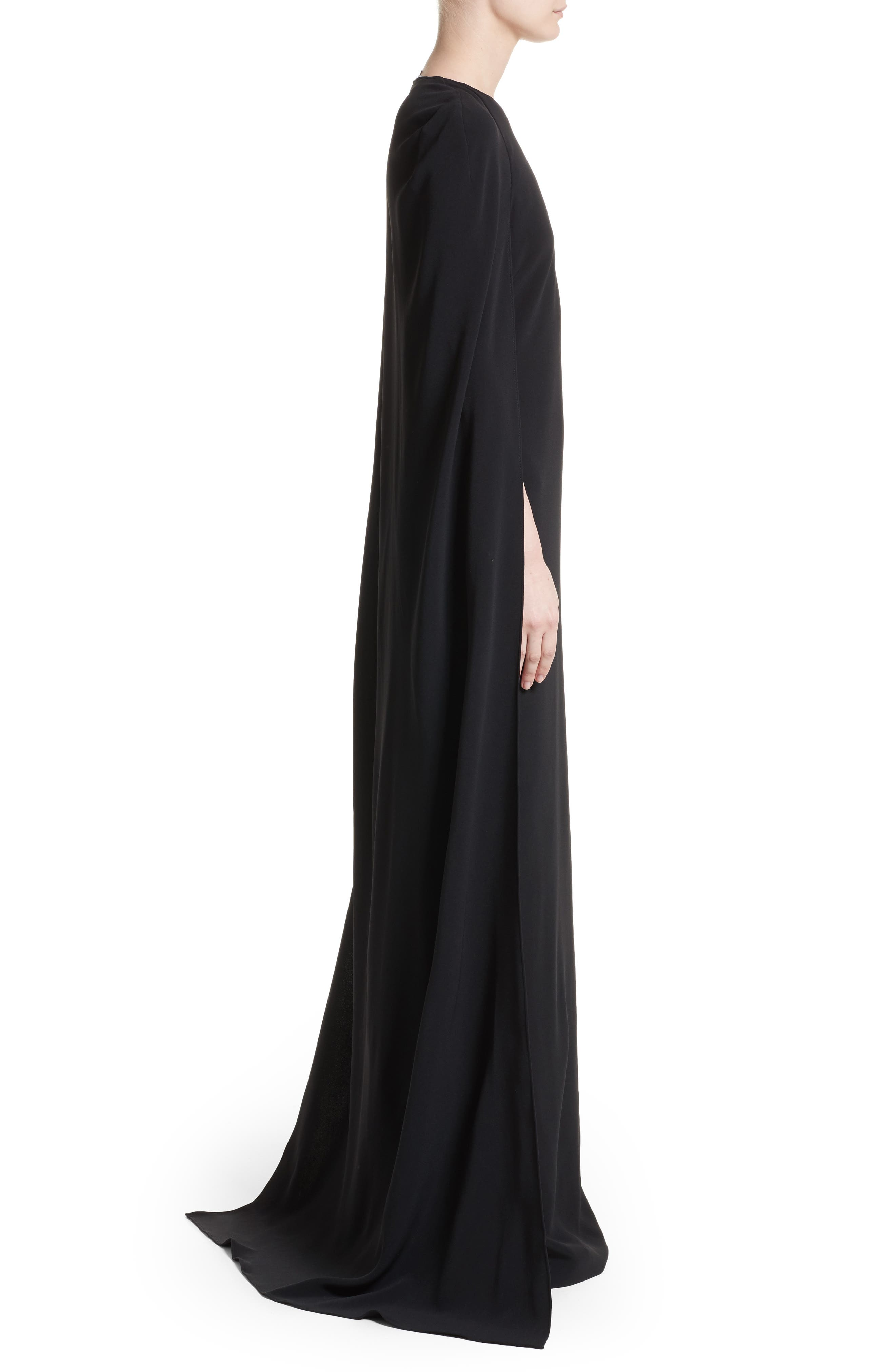 Stretch Cady One-Shoulder Cape Gown,                             Alternate thumbnail 4, color,                             Black