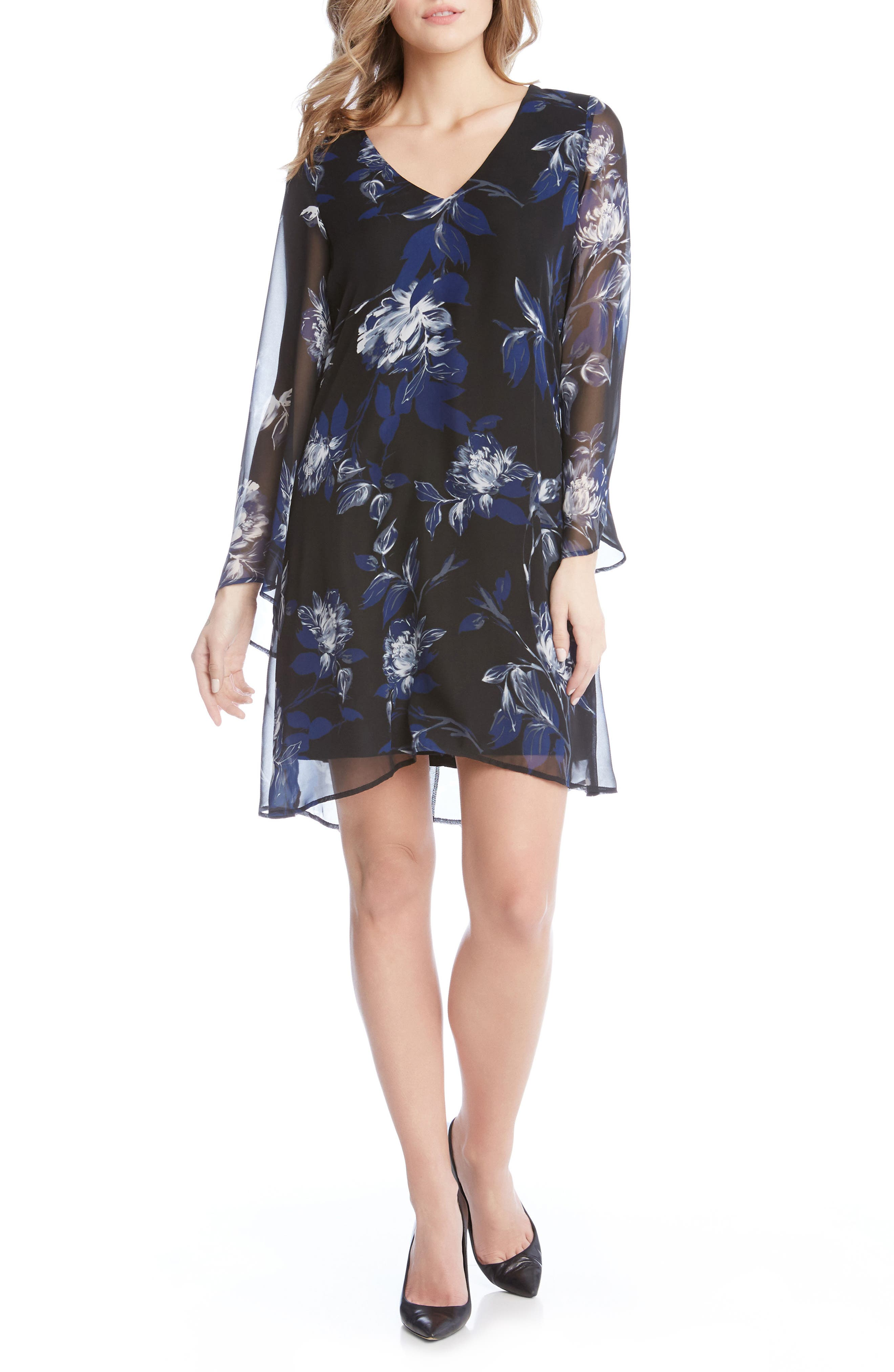 Main Image - Karen Kane Flare Sleeve Print Chiffon Dress