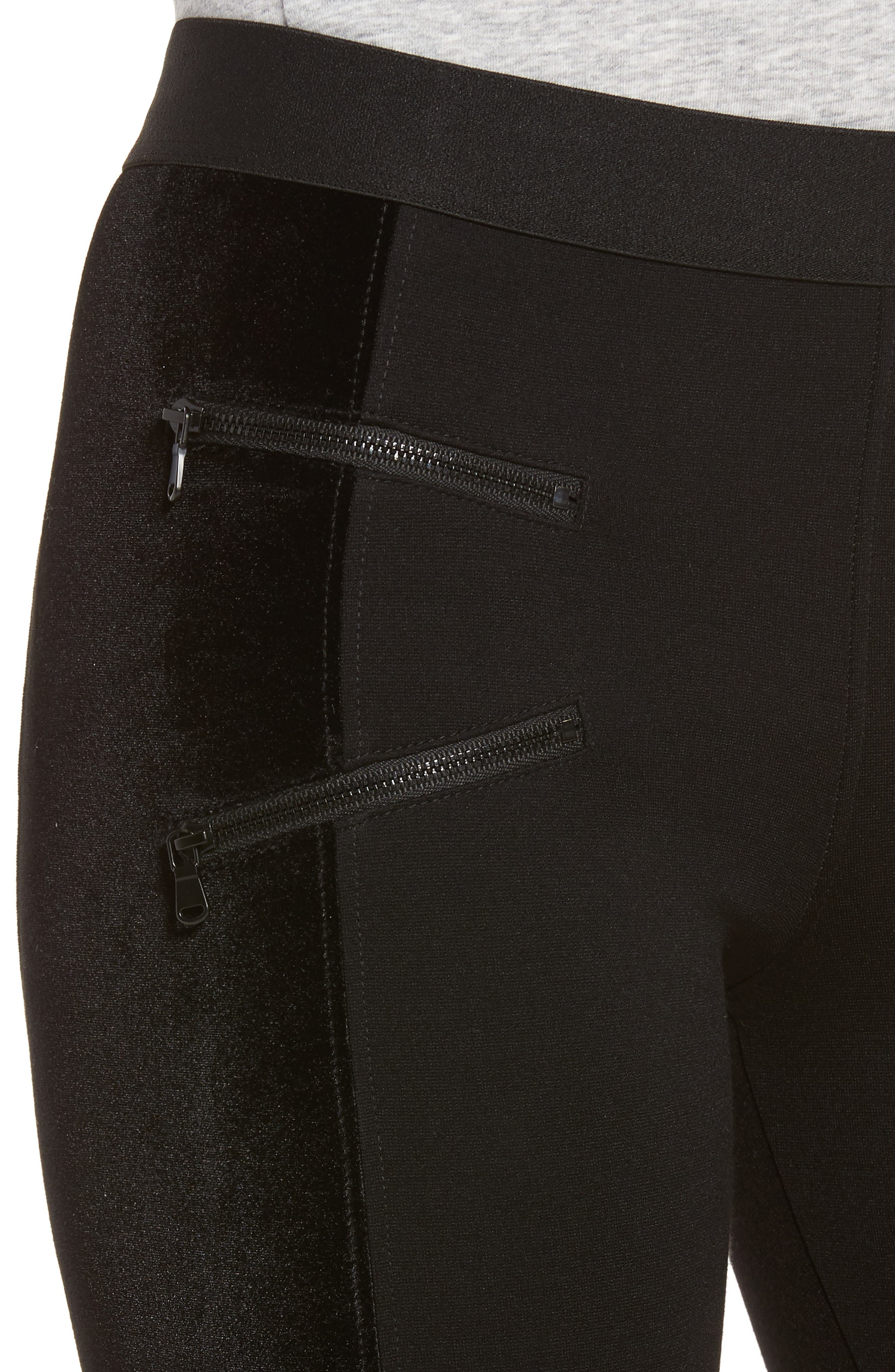 Starburst Zip Combo Leggings,                             Alternate thumbnail 5, color,                             Black