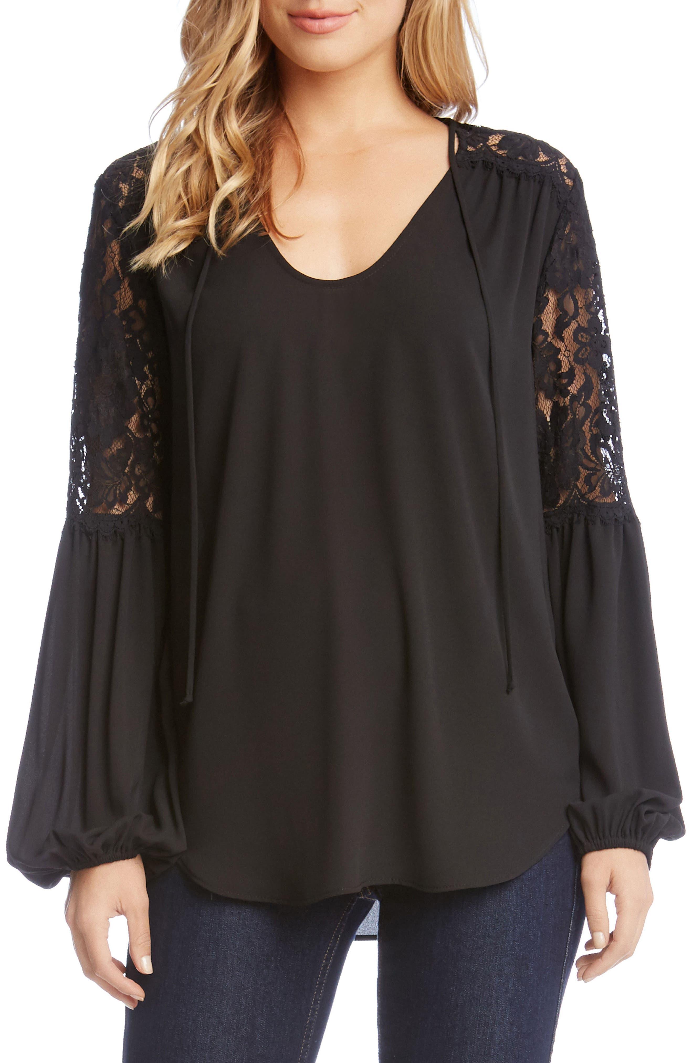 Lace & Crepe Top,                         Main,                         color, Black