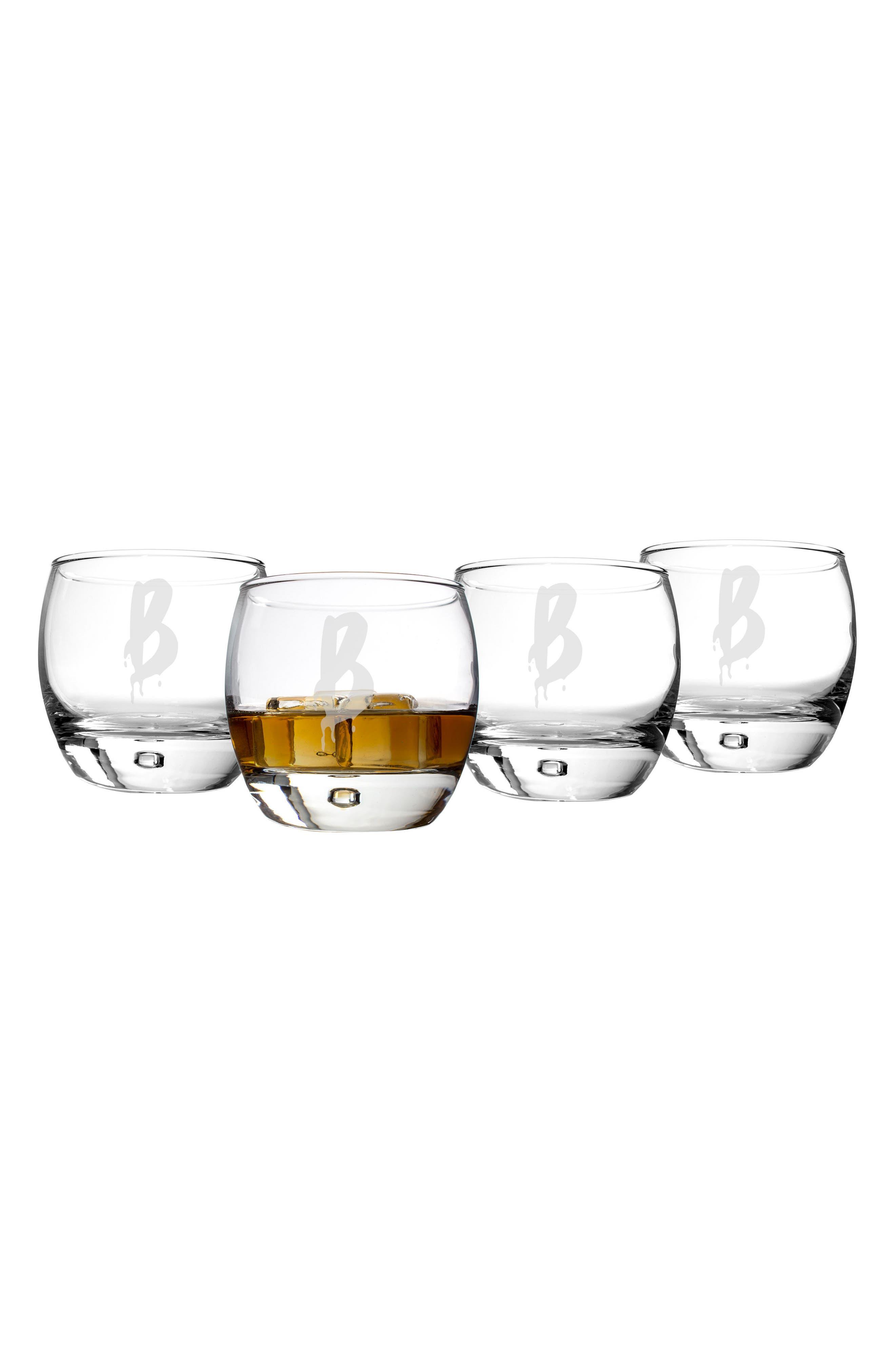 Set of 4 Spooky Monogram Whiskey Glasses,                         Main,                         color, White - B