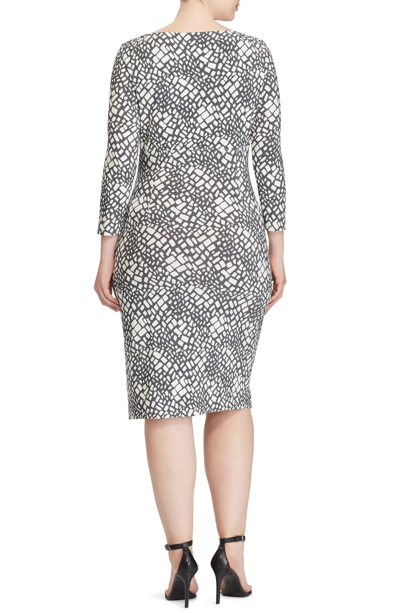 Shirred Print Jersey Sheath Dress,                             Alternate thumbnail 2, color,                             Slate/ Colonial Cream