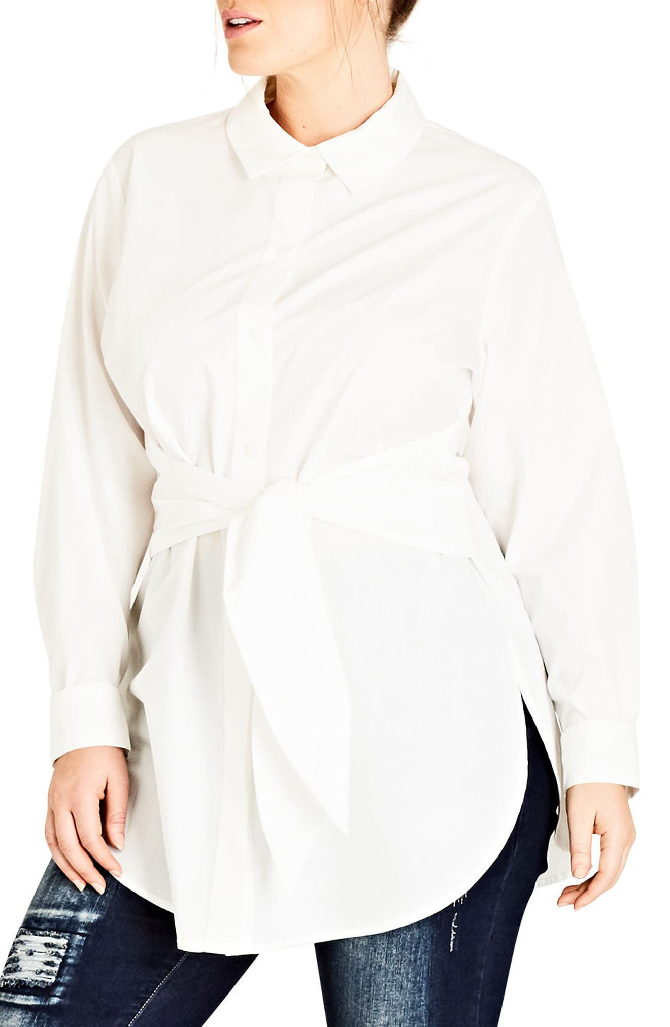 Alternate Image 1 Selected - City Chic Tie Waist Tunic (Plus Size)